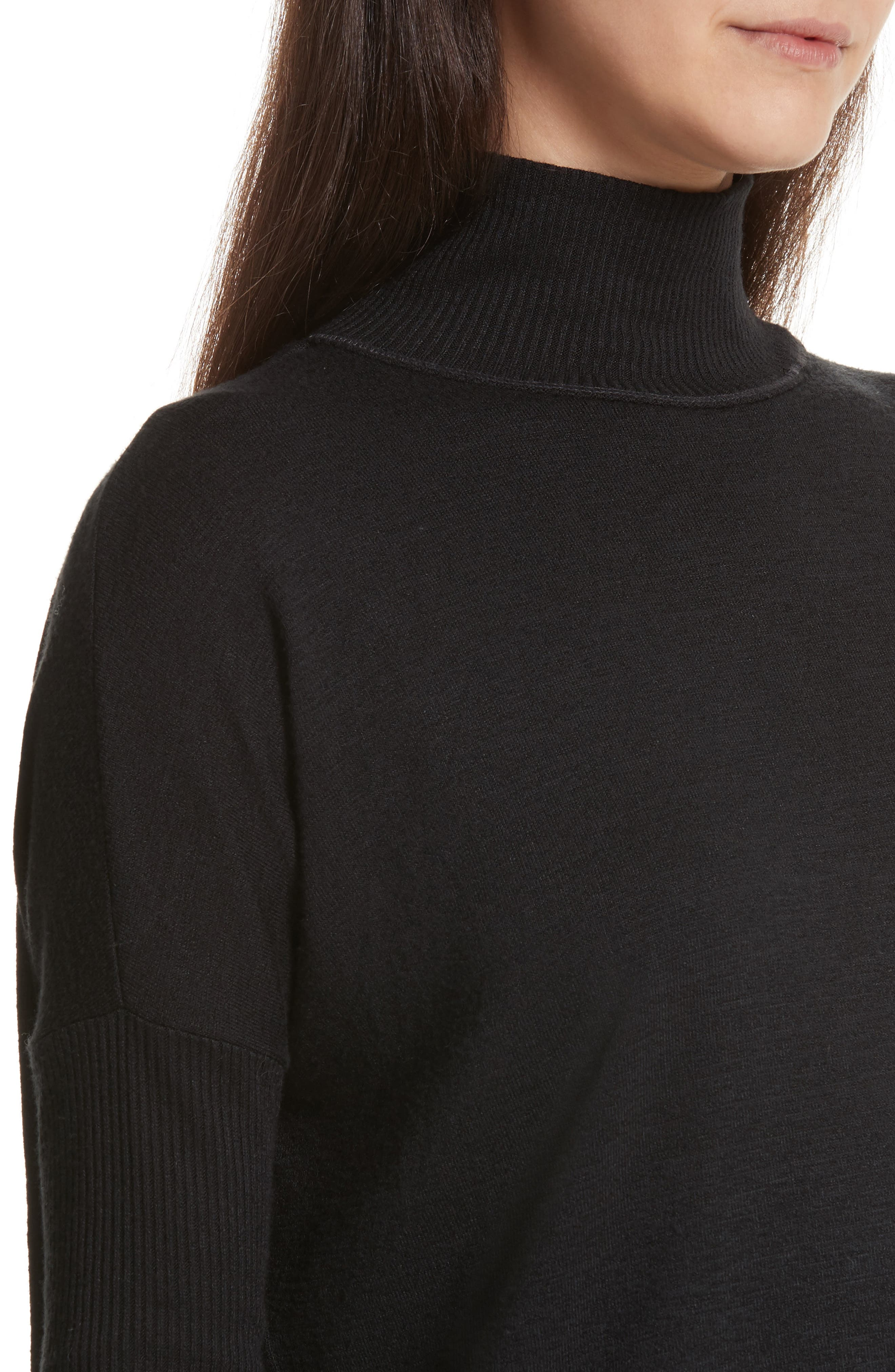 JEAN Amelie Back Cutout Turtleneck,                             Alternate thumbnail 4, color,                             001