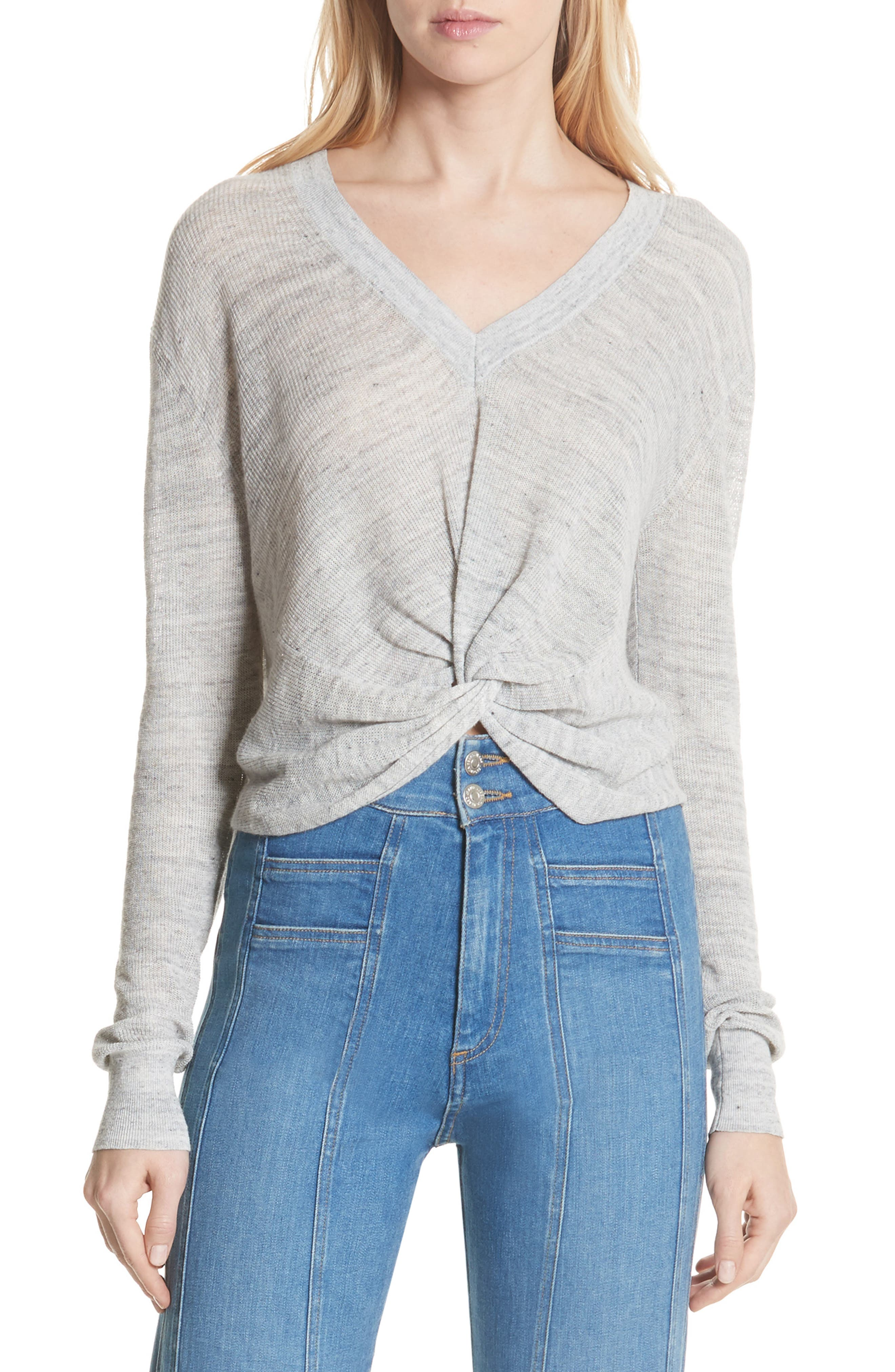 Soren Twist Front Linen Blend Sweater,                             Main thumbnail 1, color,