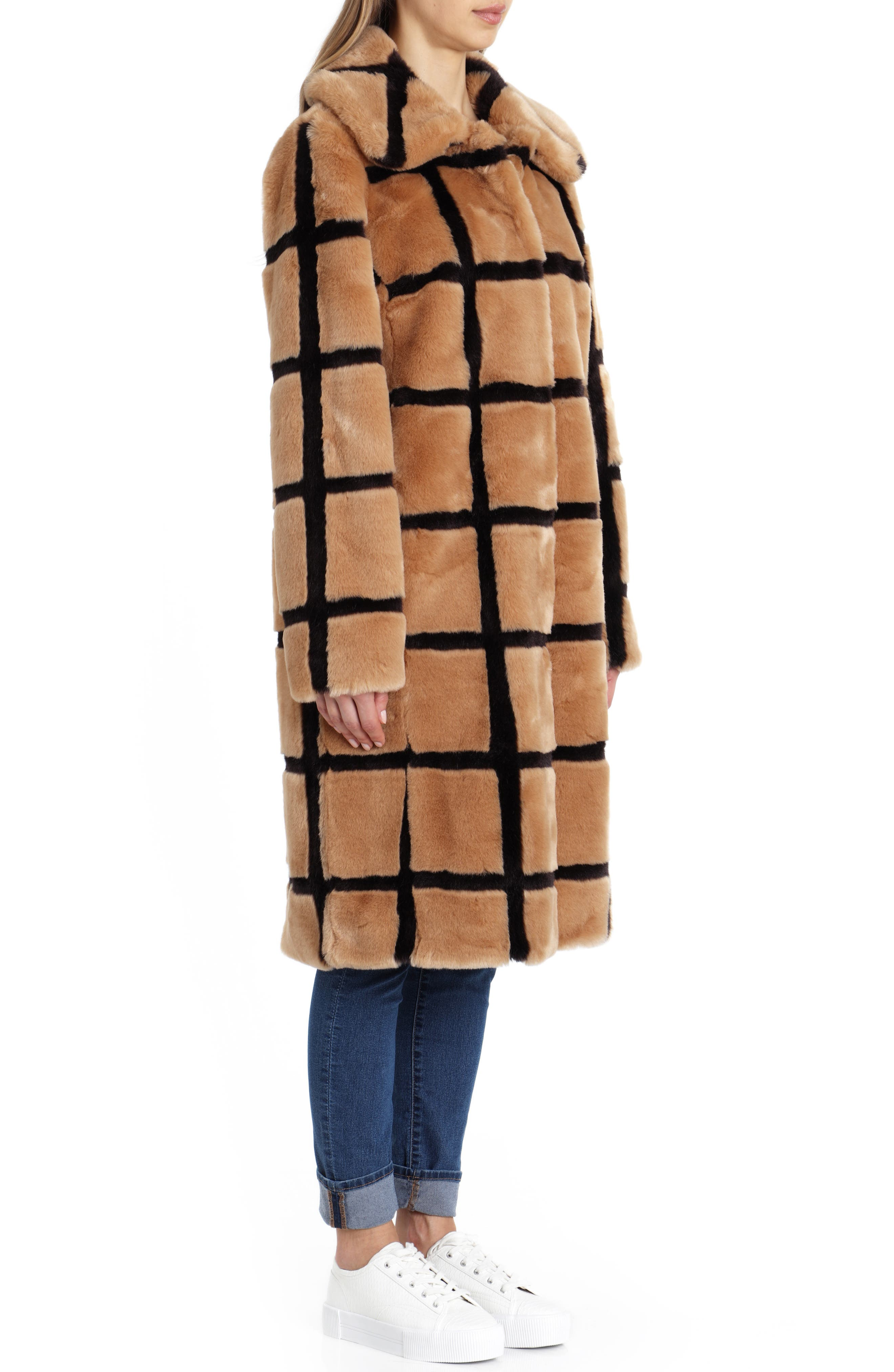 Windowpane Faux Fur Coat,                             Alternate thumbnail 3, color,                             TAN/ ESPRESSO