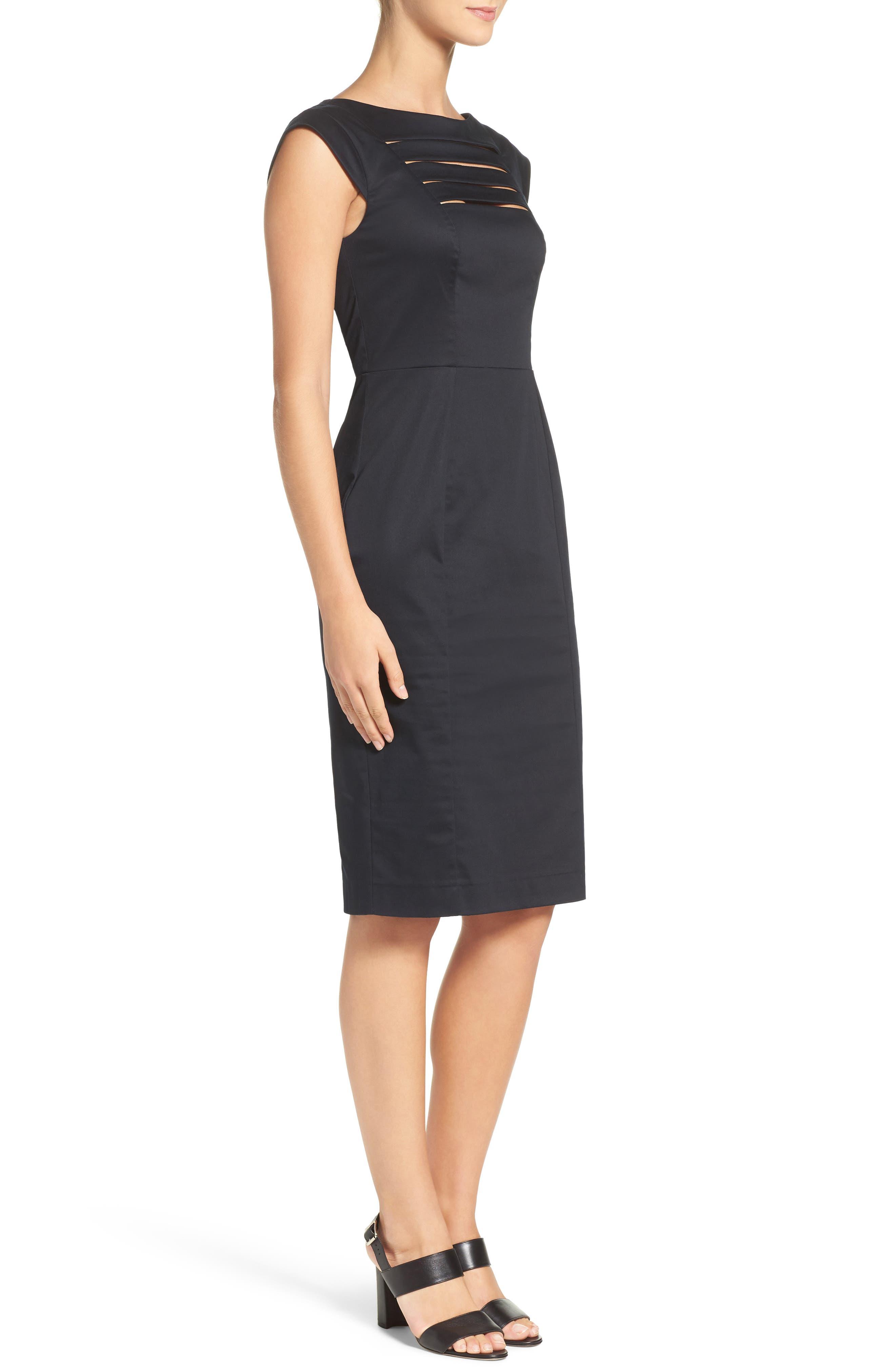 'Estelle' Cutout Cotton Blend Sheath Dress,                             Alternate thumbnail 6, color,