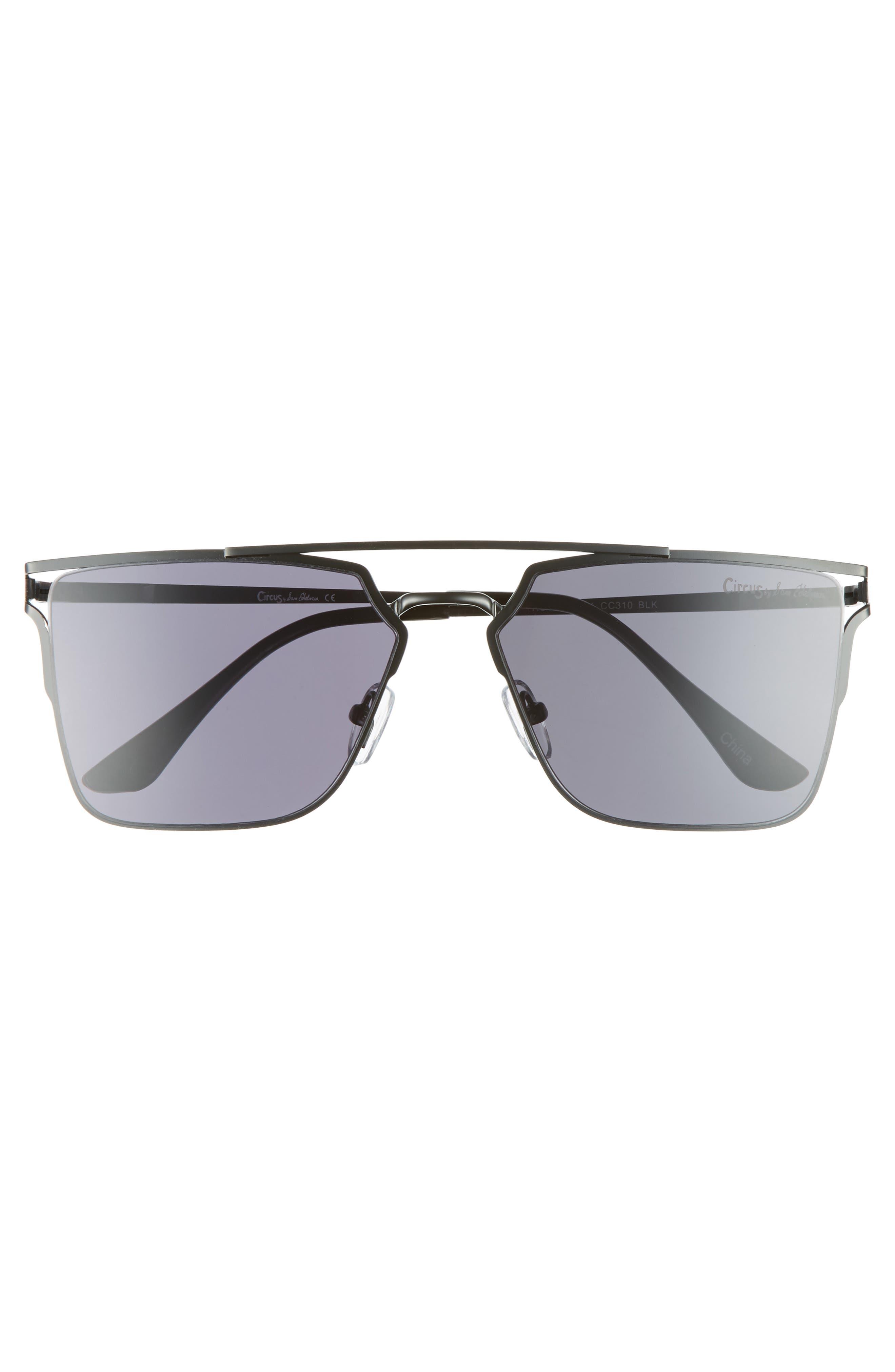 56mm Flat Top Sunglasses,                             Alternate thumbnail 3, color,                             001