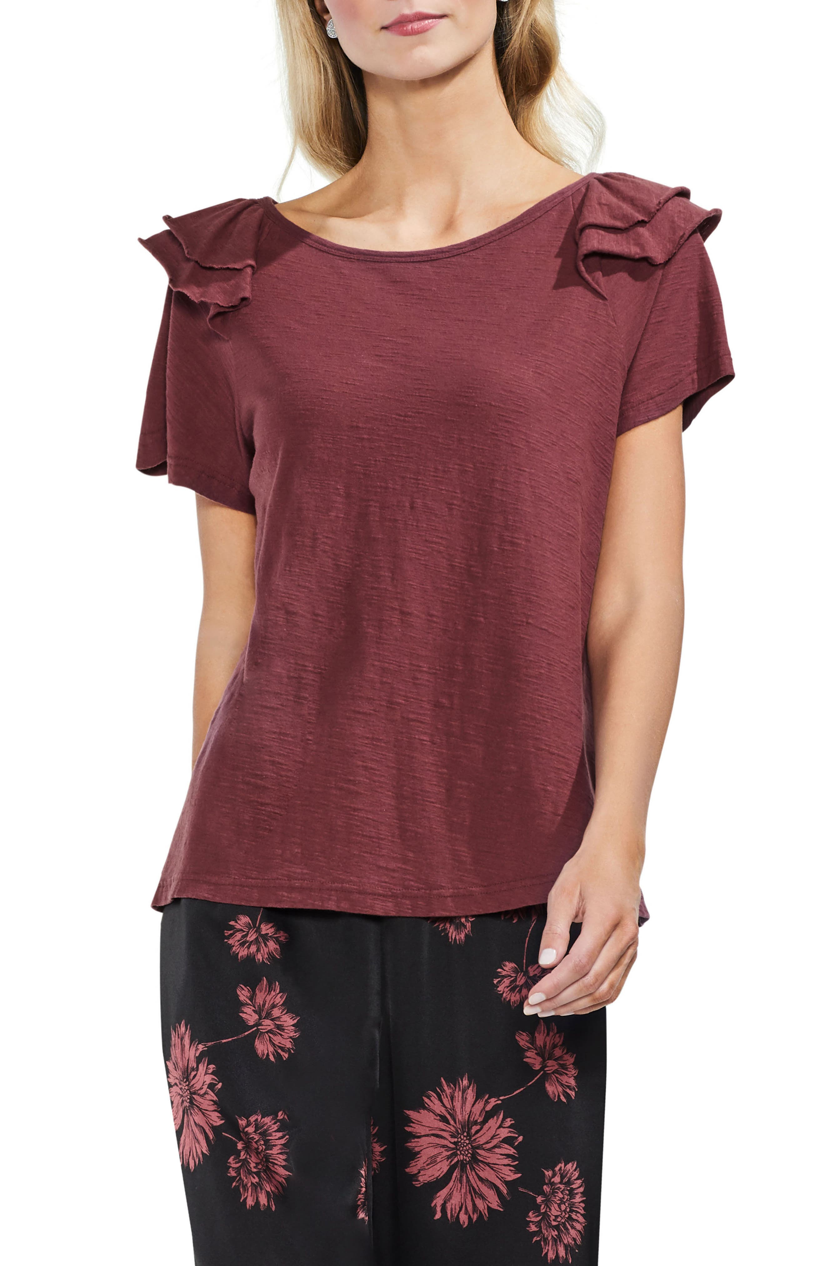 Shoulder Ruffle Tee,                             Main thumbnail 1, color,                             600