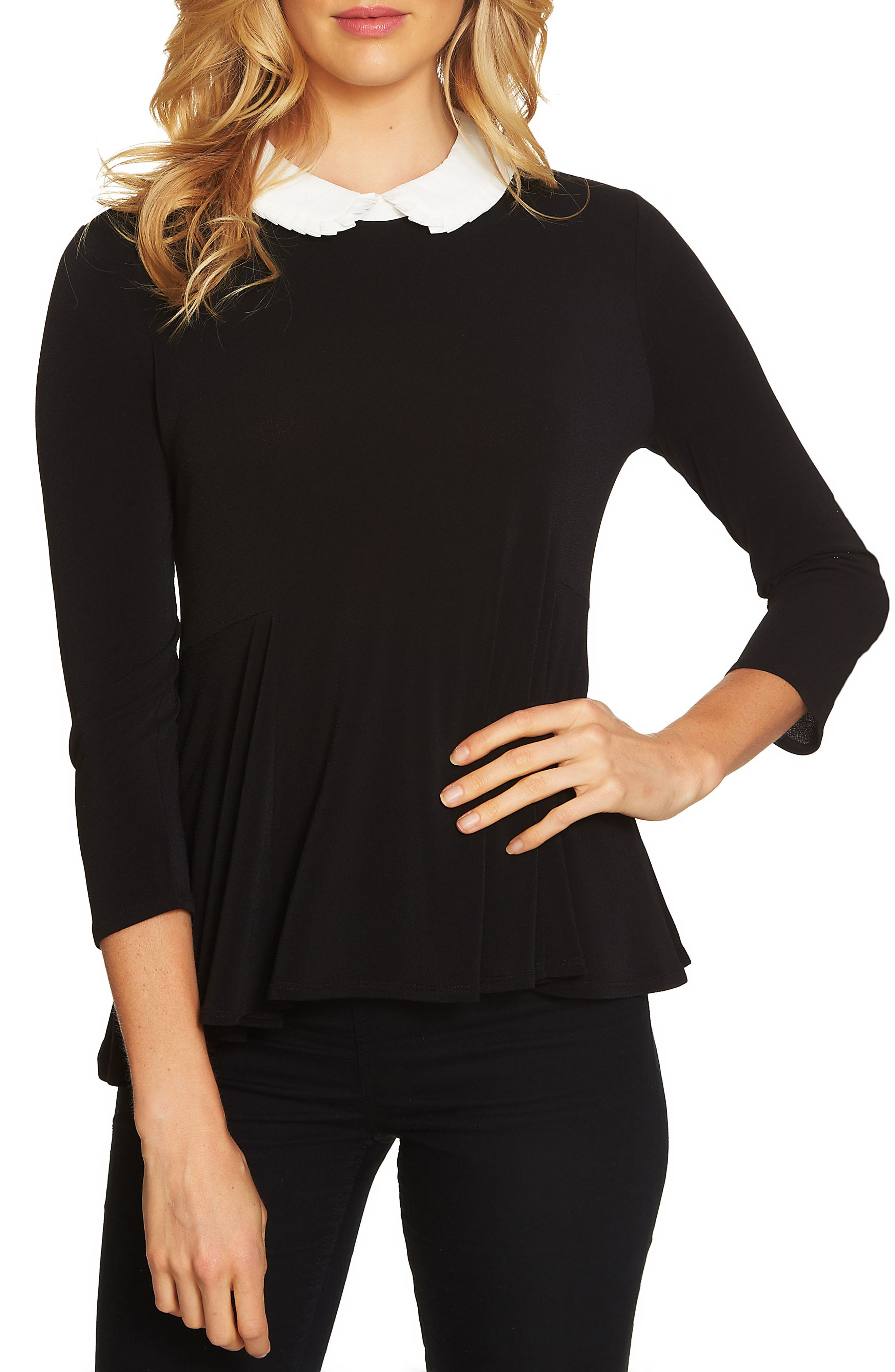 Pleat Collar Swing Knit Top,                         Main,                         color,