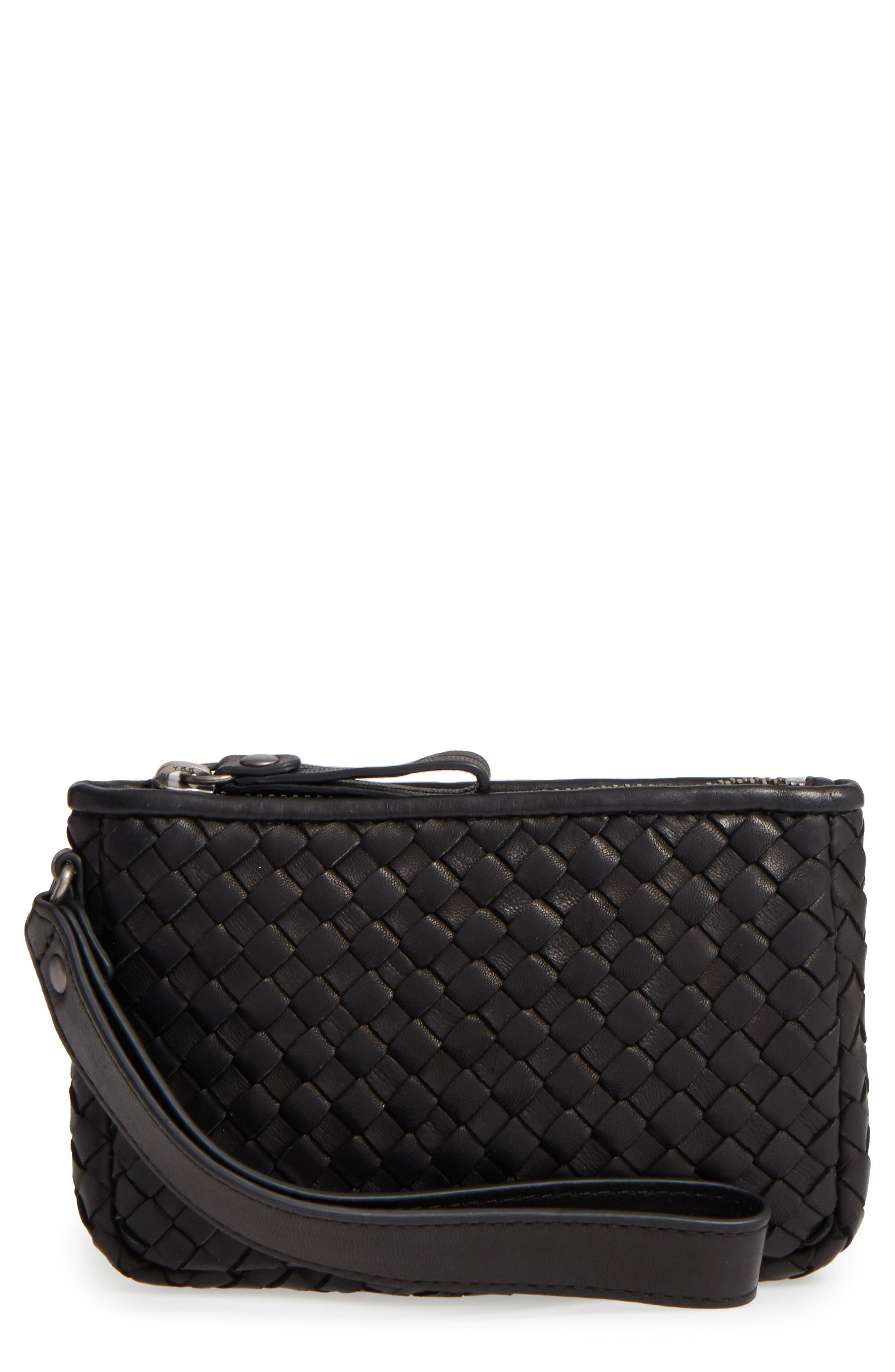 Small Maya Leather Clutch,                             Main thumbnail 1, color,                             BLACK
