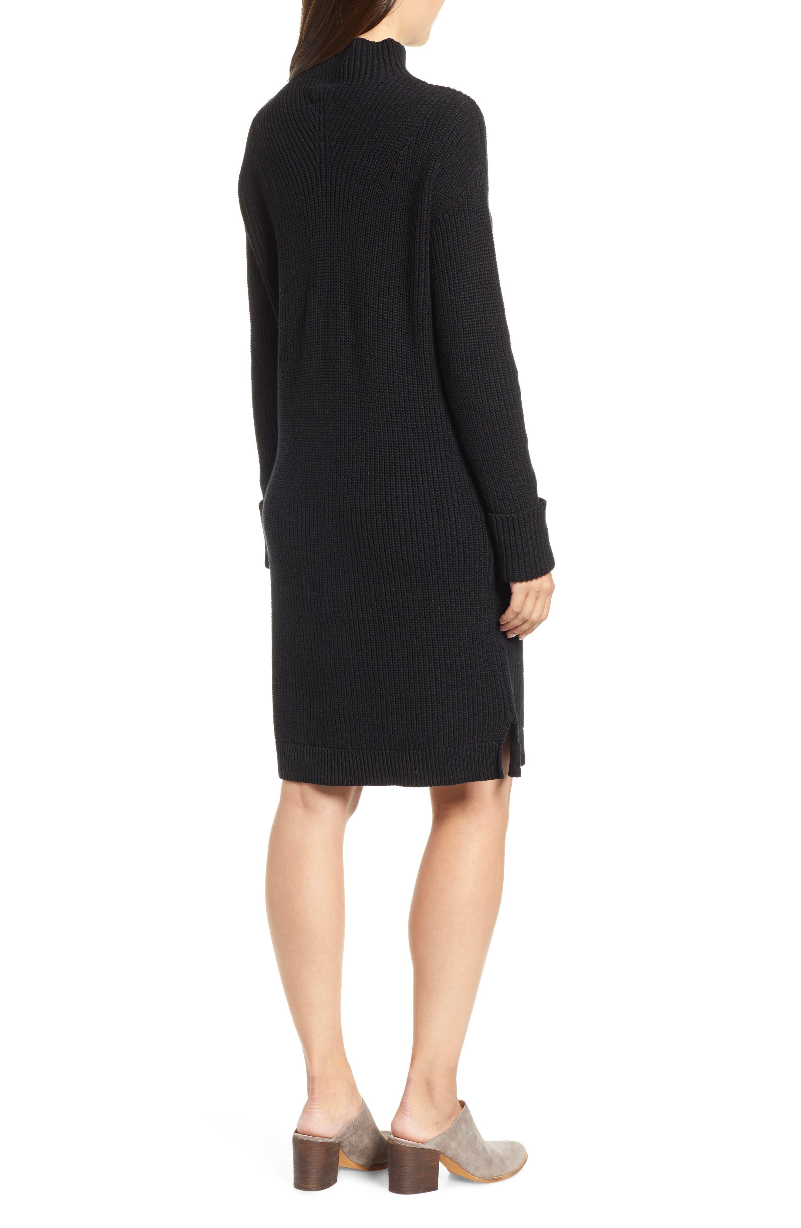 Ribbed Sweater Dress,                             Alternate thumbnail 2, color,                             BLACK