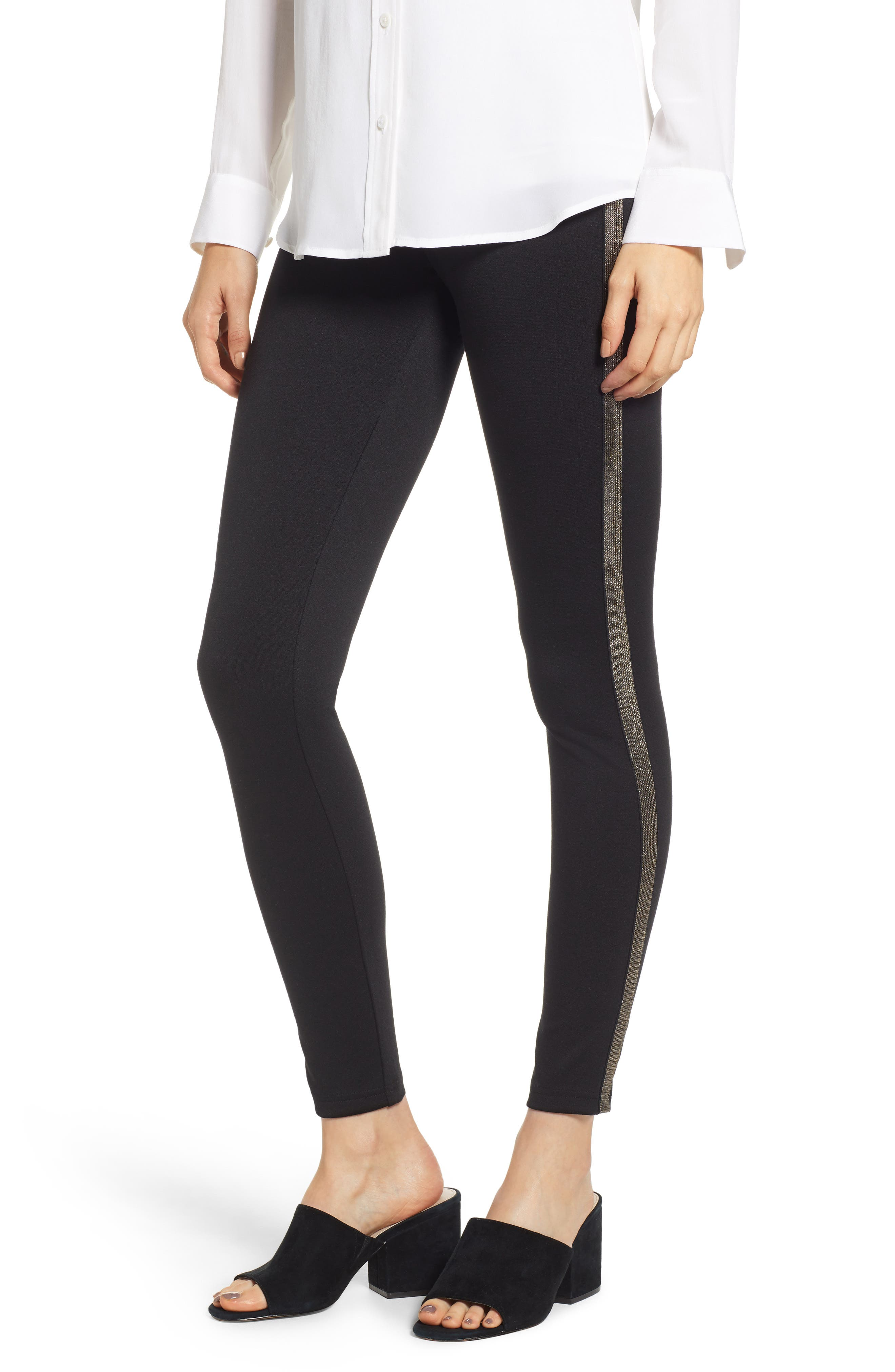 Hue Metallic Tuxedo Stripe Ponte Leggings, Black