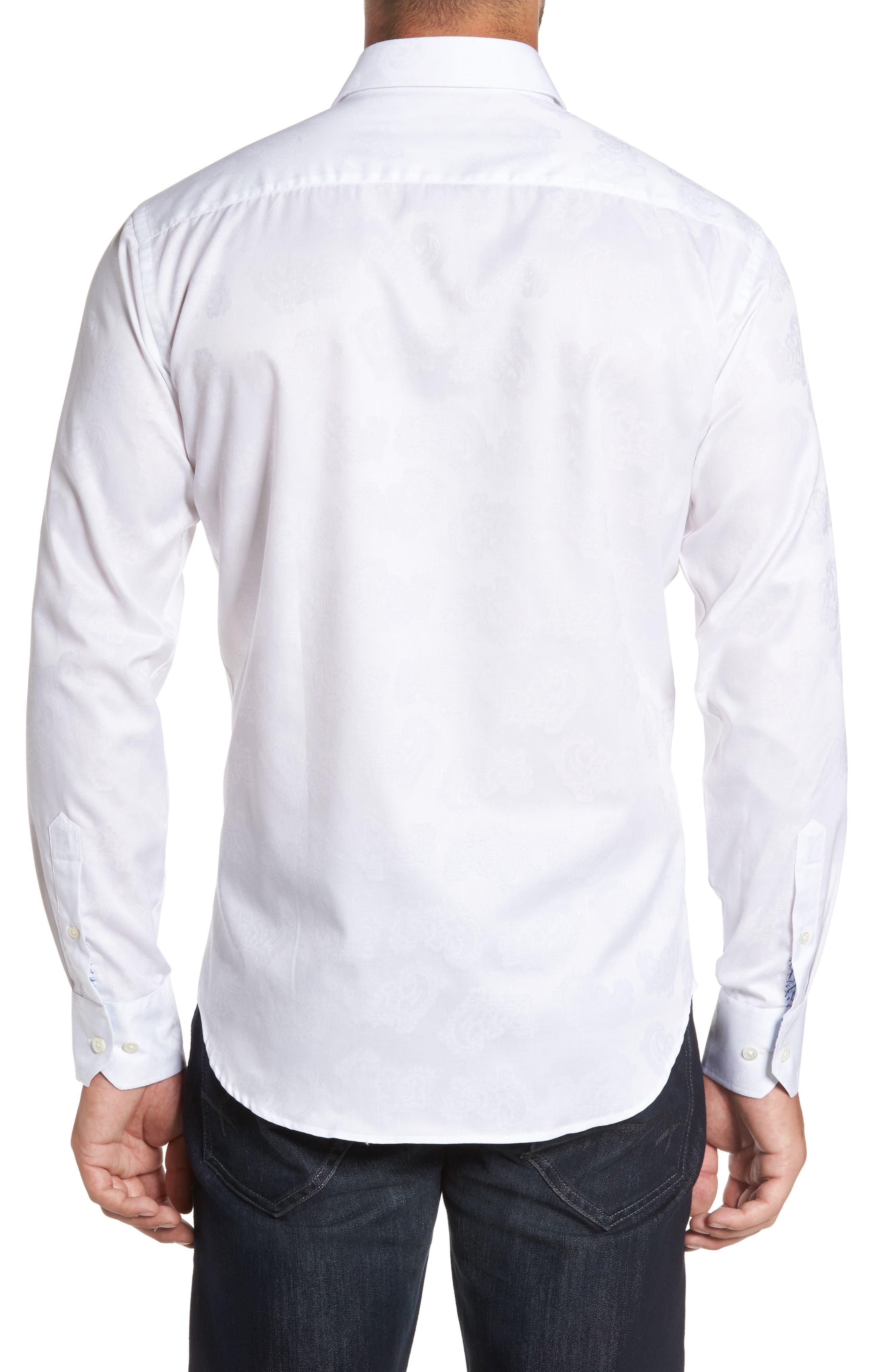 Trim Fit Floral Jacquard Sport Shirt,                             Alternate thumbnail 2, color,                             100