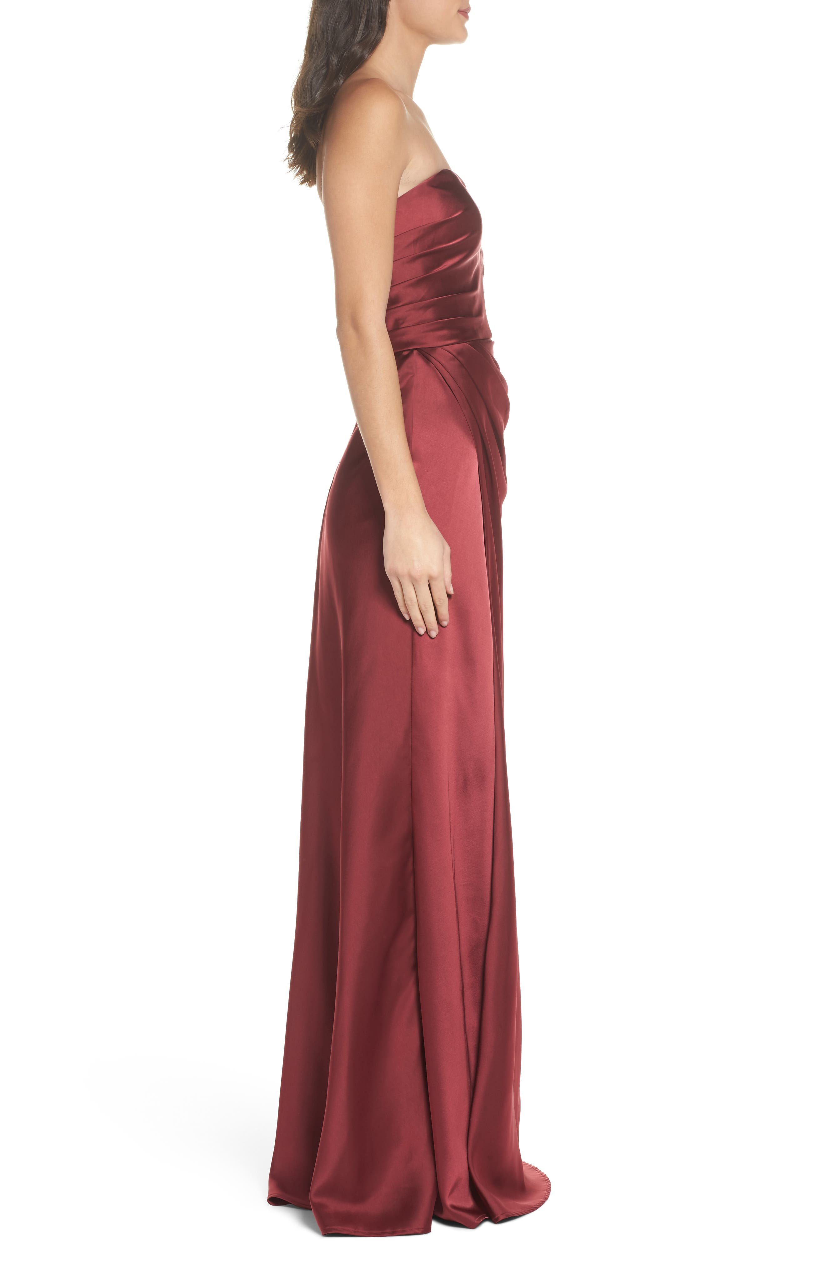 Gathered Strapless Satin Gown,                             Alternate thumbnail 3, color,                             602