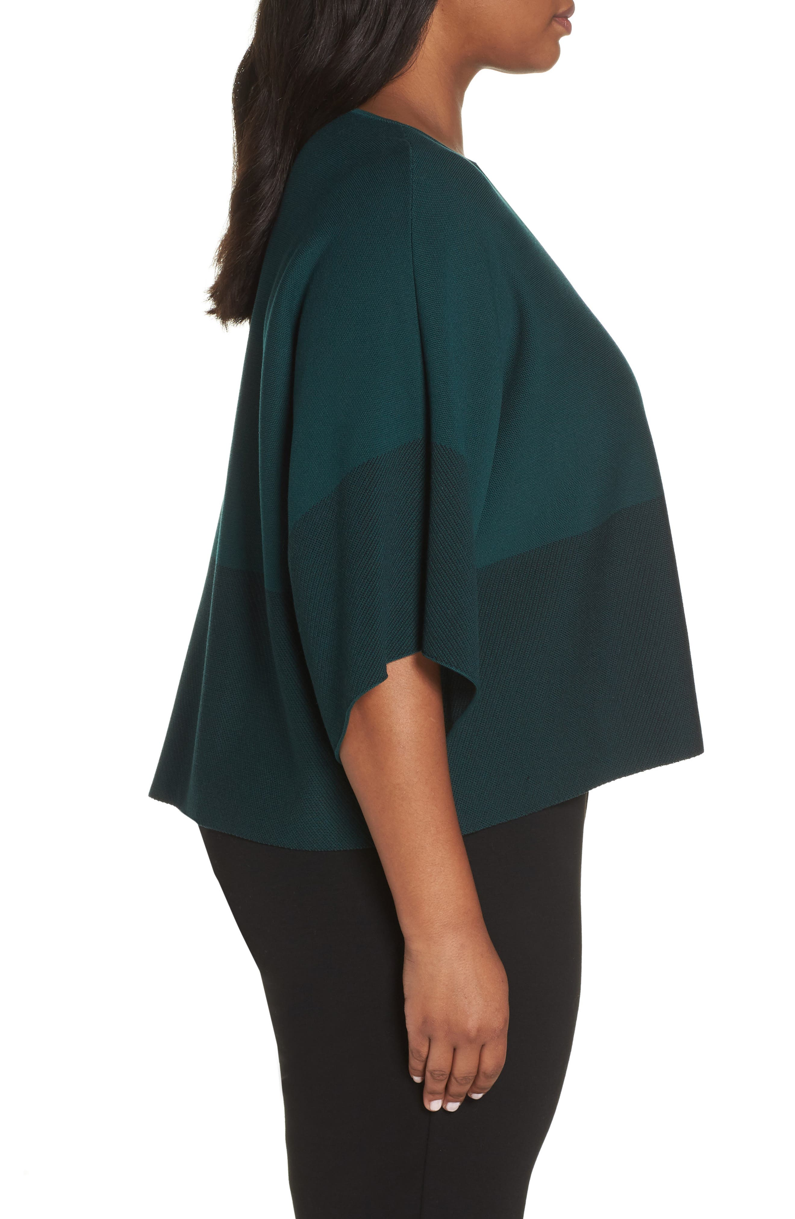 Colorblock Tencel<sup>®</sup> Lyocell Sweater,                             Alternate thumbnail 3, color,                             PINE