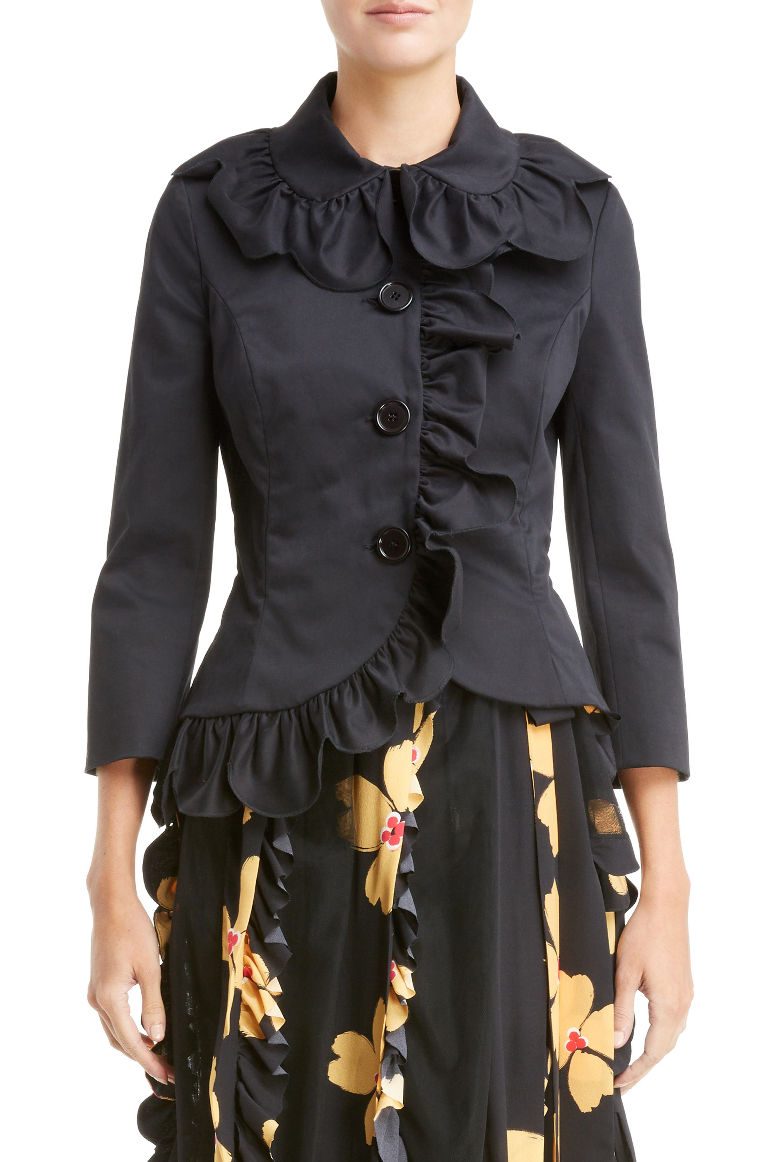 Scallop Frill Fitted Jacket,                             Main thumbnail 1, color,