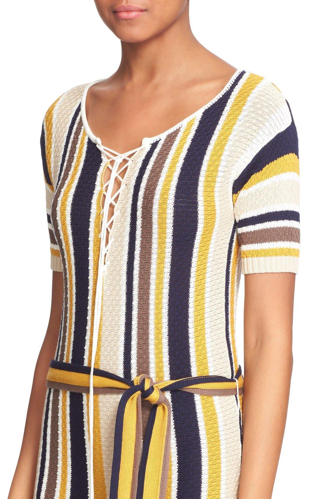 'Le Lace Up' Stripe Shirt Dress,                             Alternate thumbnail 2, color,                             120