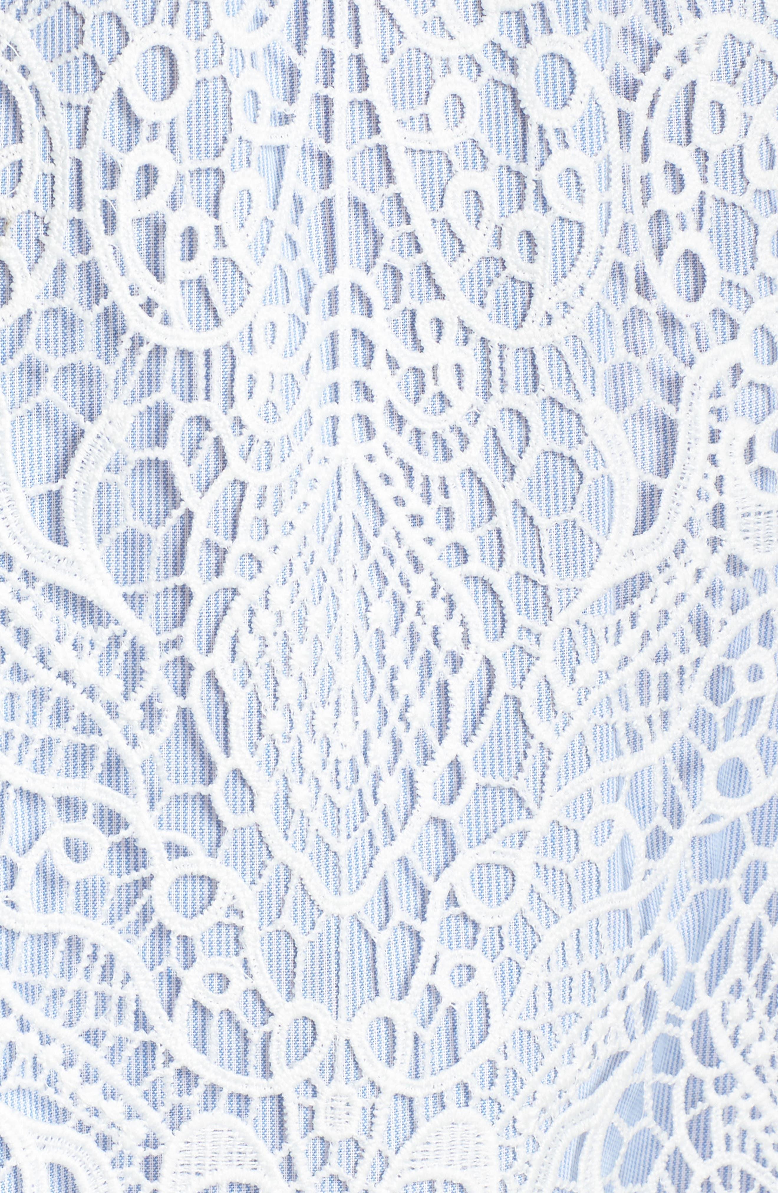 Pinstripe Cotton Lace Shift Dress,                             Alternate thumbnail 6, color,                             110