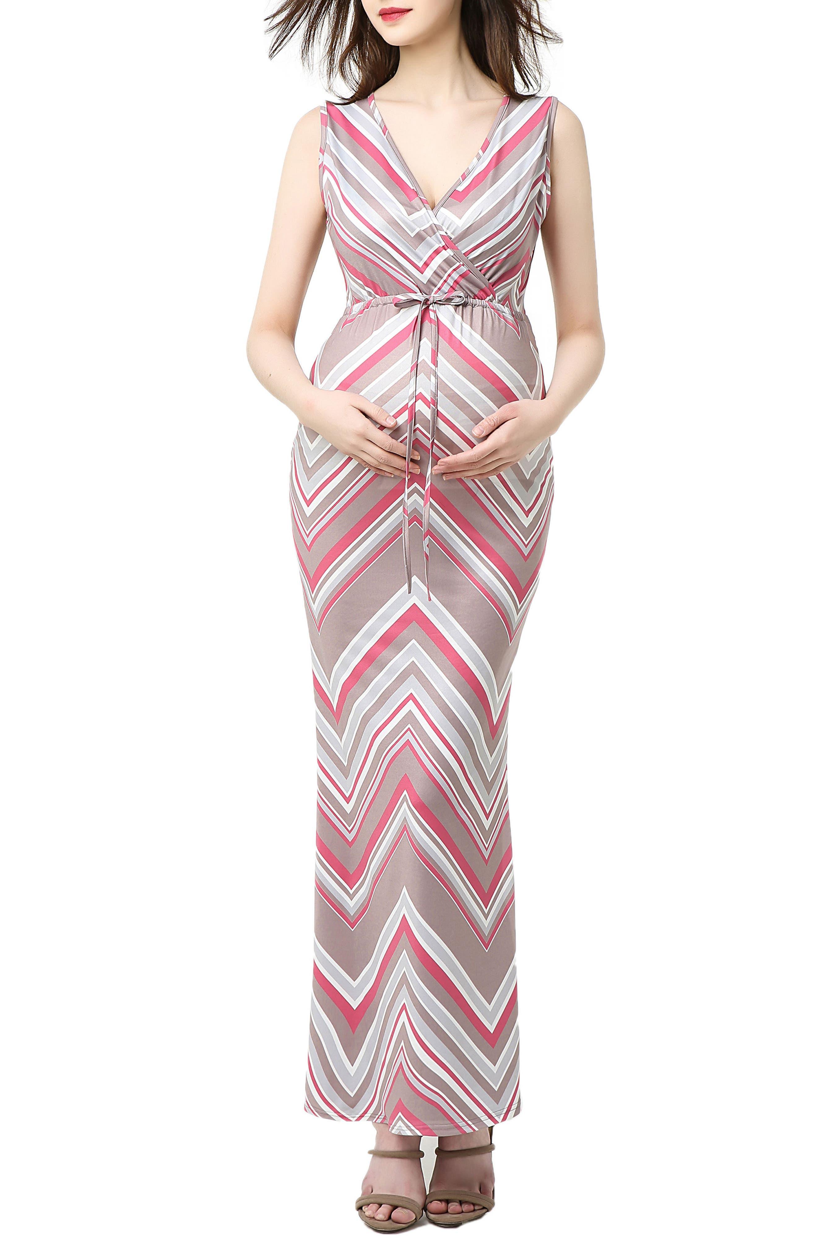 Kimi And Kai Natalie Chevron Print Maxi Maternity Dress, Pink
