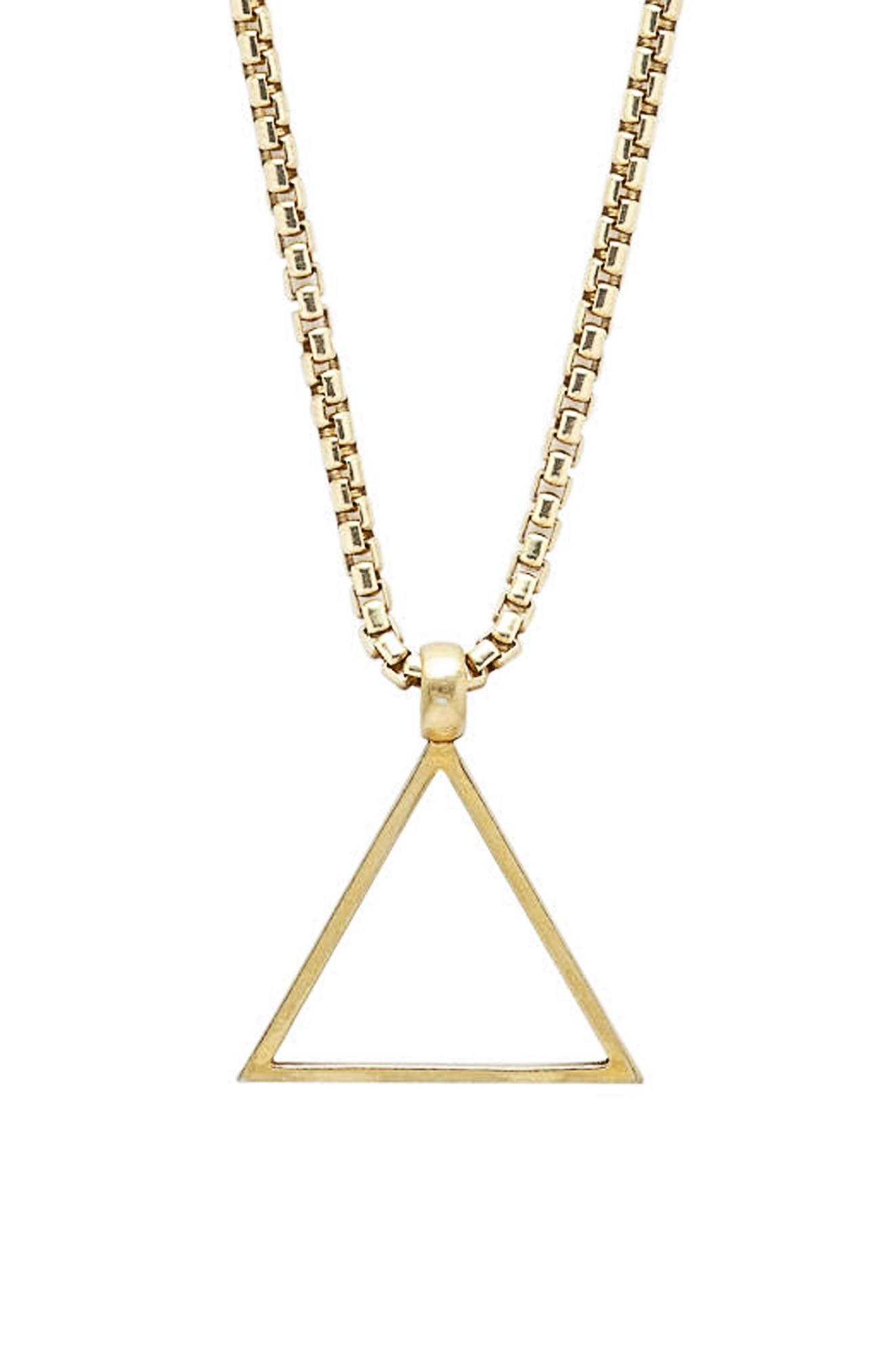 Triangle Pendant Necklace,                             Main thumbnail 1, color,                             GOLD