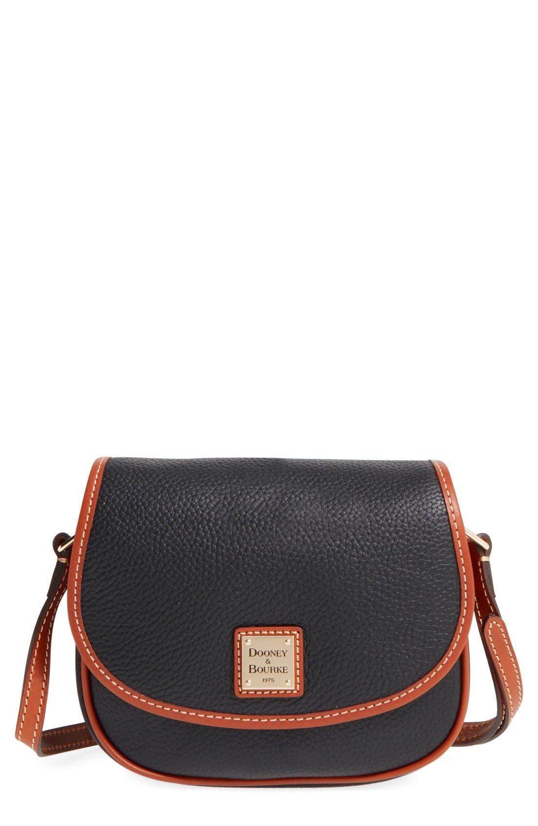 'Hallie' Leather Crossbody Bag, Main, color, 001