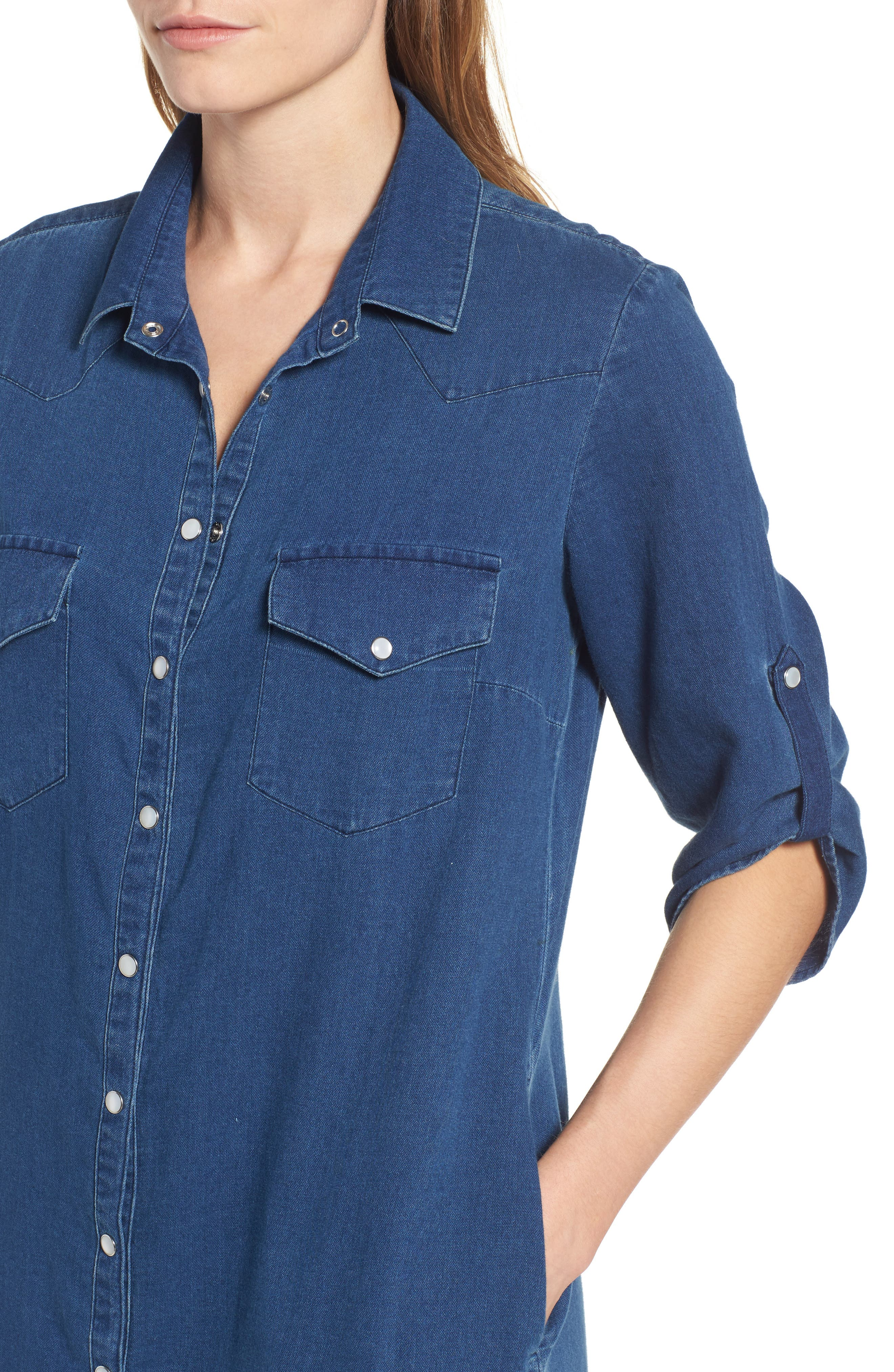 Denim Shirtdress,                             Alternate thumbnail 4, color,                             425