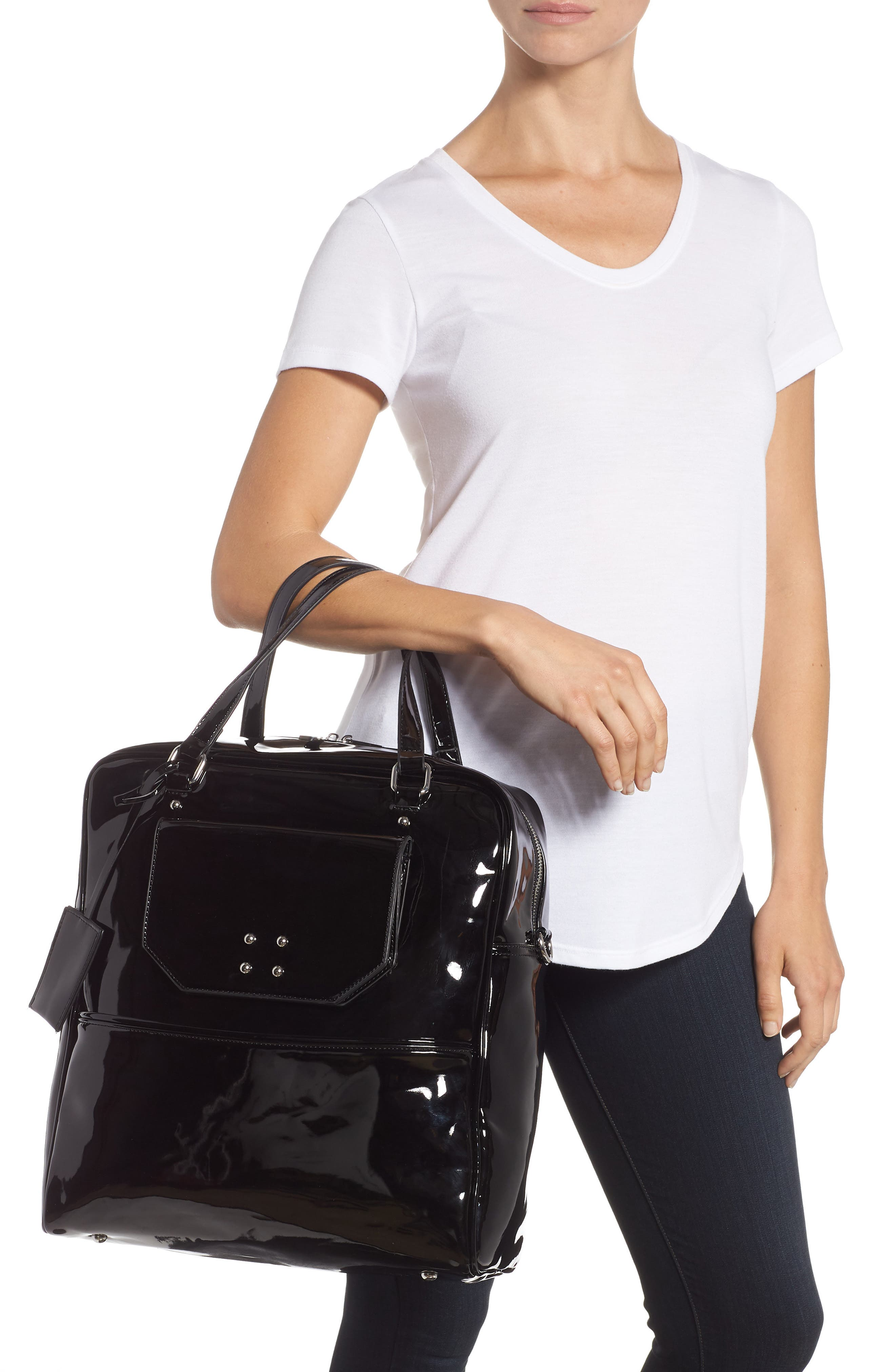Glossy Faux Leather Structured Tote Bag,                             Alternate thumbnail 2, color,                             BLACK