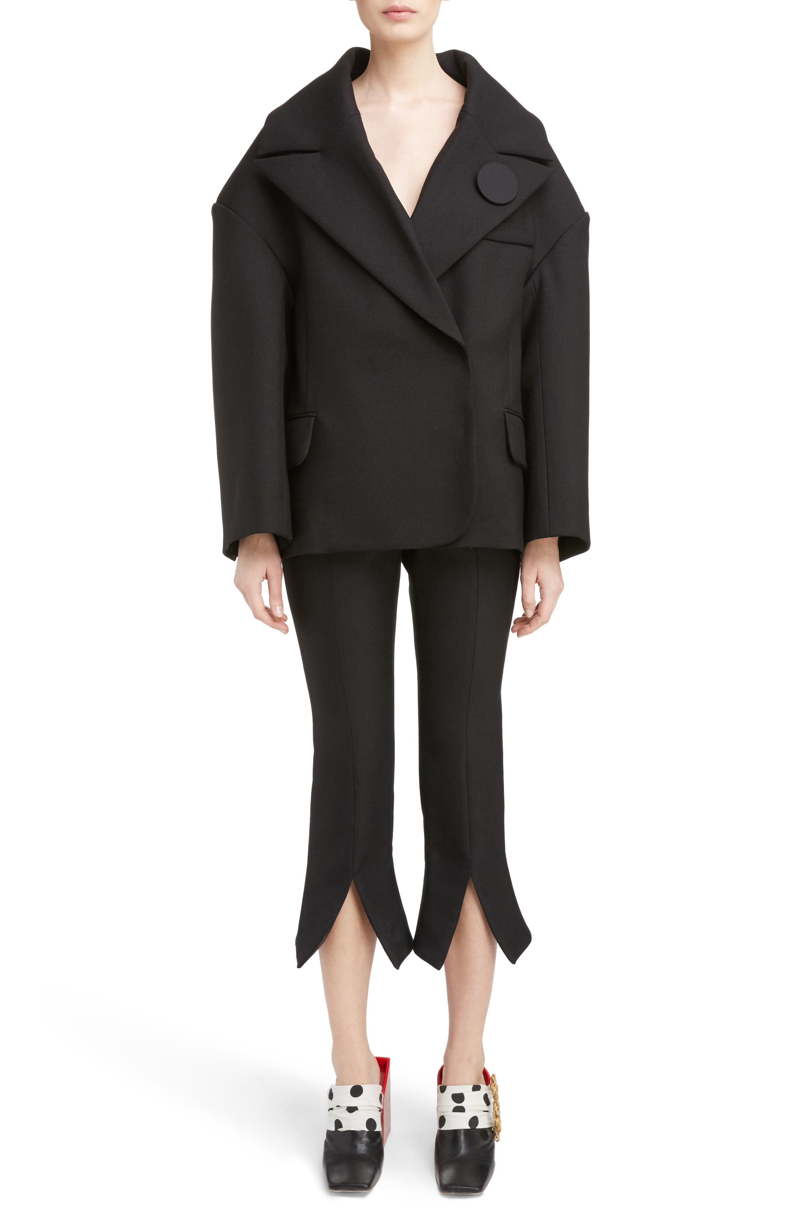 Pinstripe Pleated Wide Leg Wool Pants,                             Alternate thumbnail 7, color,