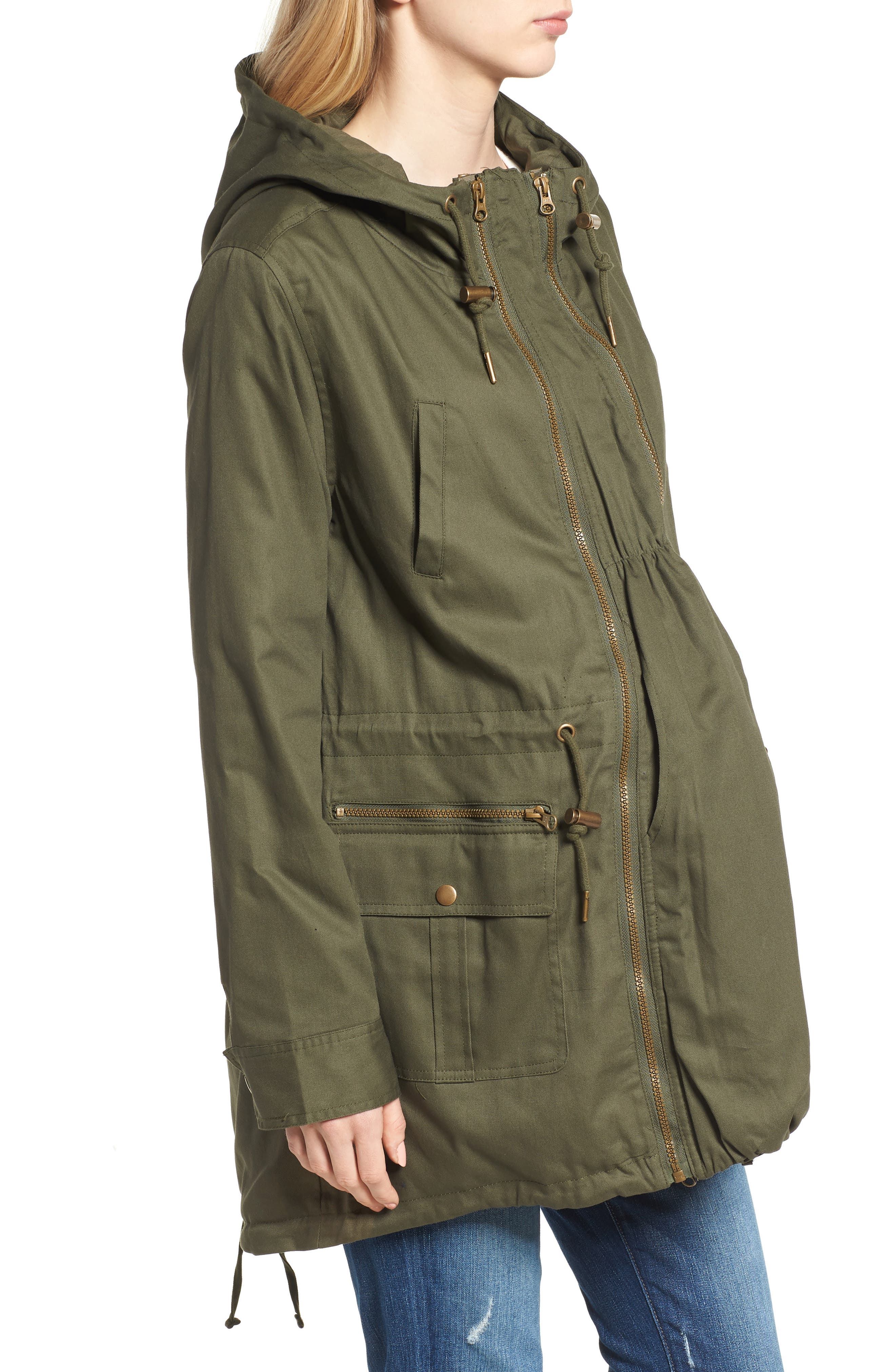 Convertible Military 3-in-1 Maternity/Nursing Jacket,                             Alternate thumbnail 4, color,                             KHAKI GREEN