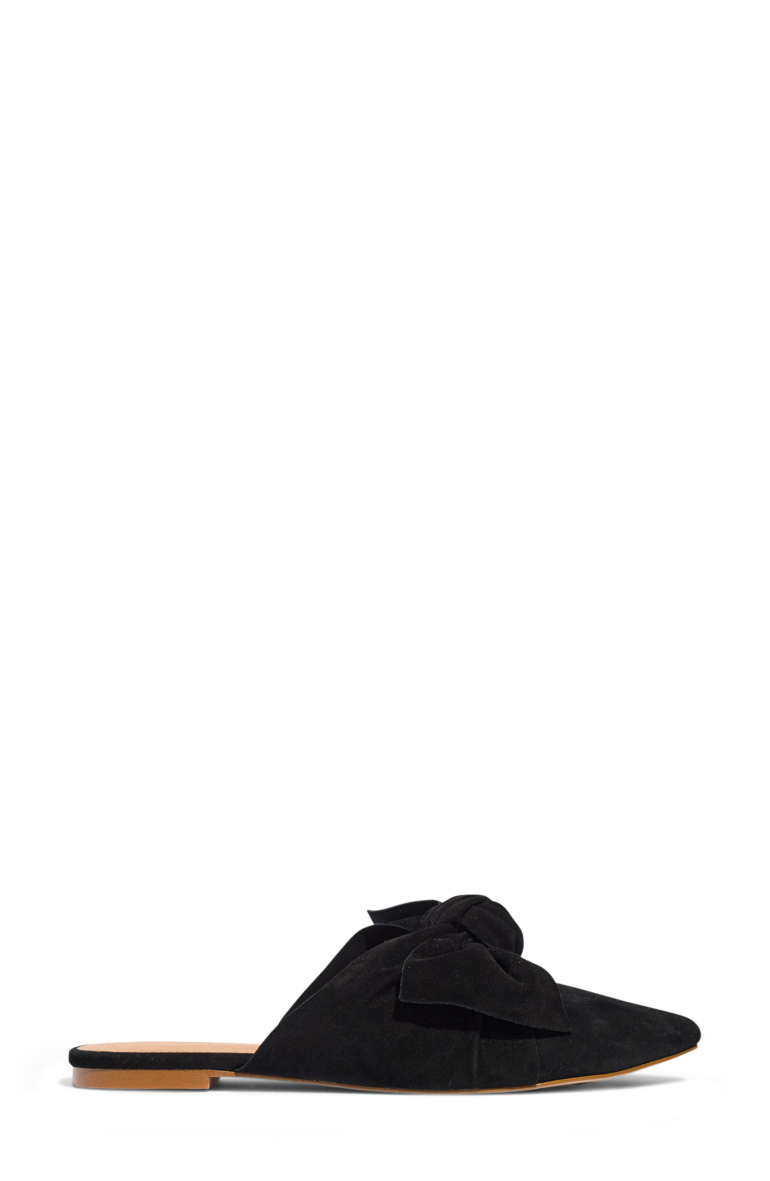The Remi Bow Mule,                             Alternate thumbnail 8, color,                             TRUE BLACK SUEDE