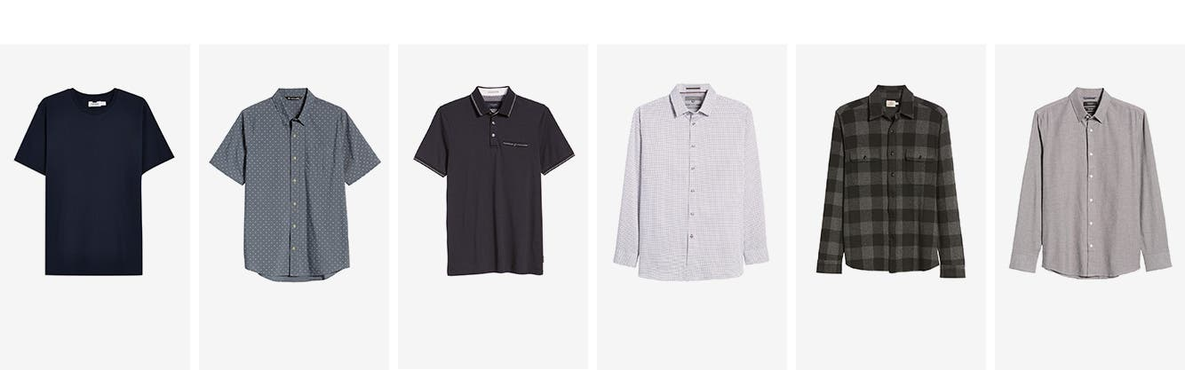 Topman T-shirt. Short-sleeve button-up print shirt. Black polo shirt with tipped collar and pocket. Lilac print dress shirt. Grey plaid flannel shirt. Long-sleeve grey button-front shirt.