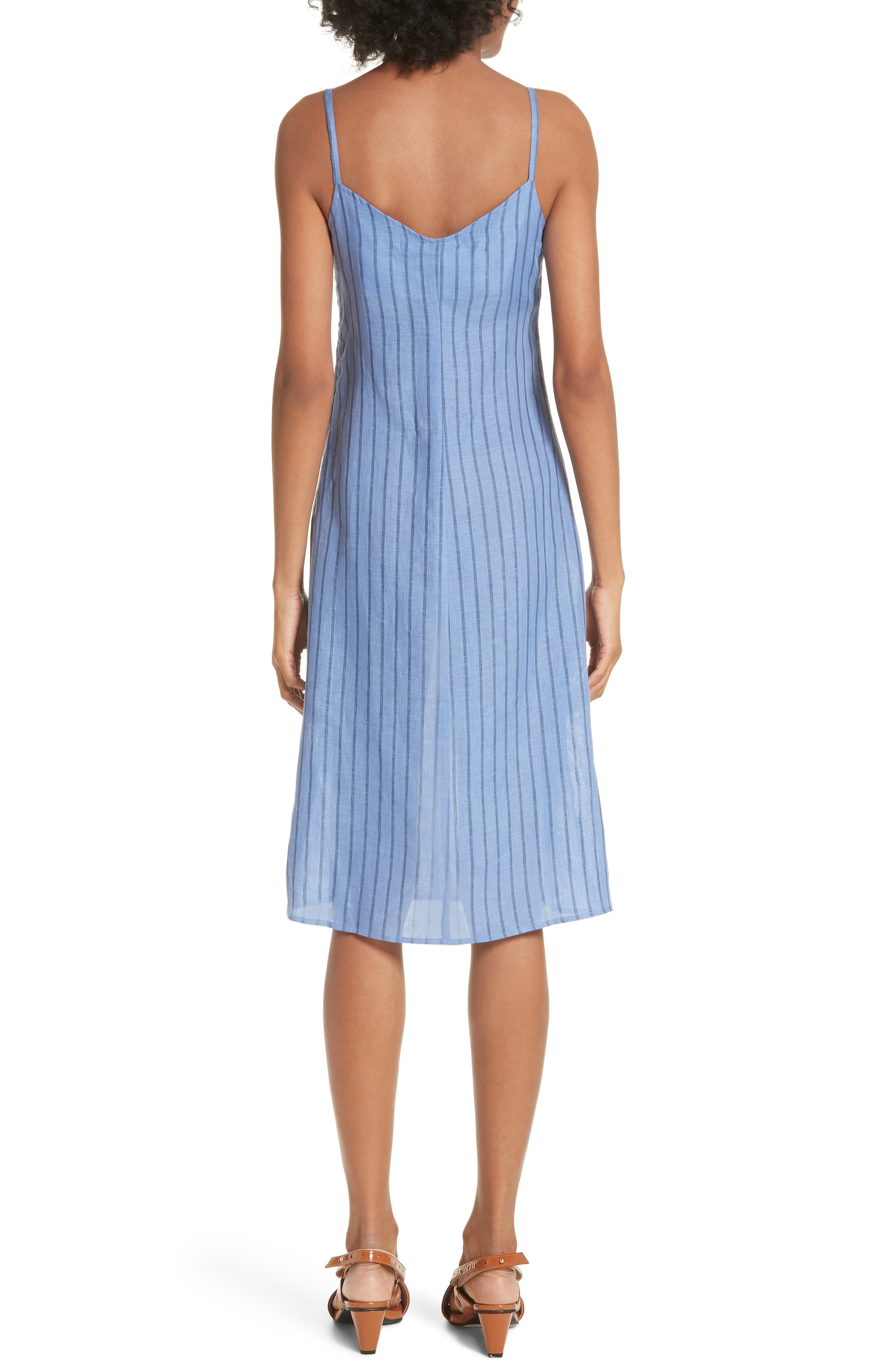 Oriska Stripe Linen Slipdress,                             Alternate thumbnail 2, color,                             400