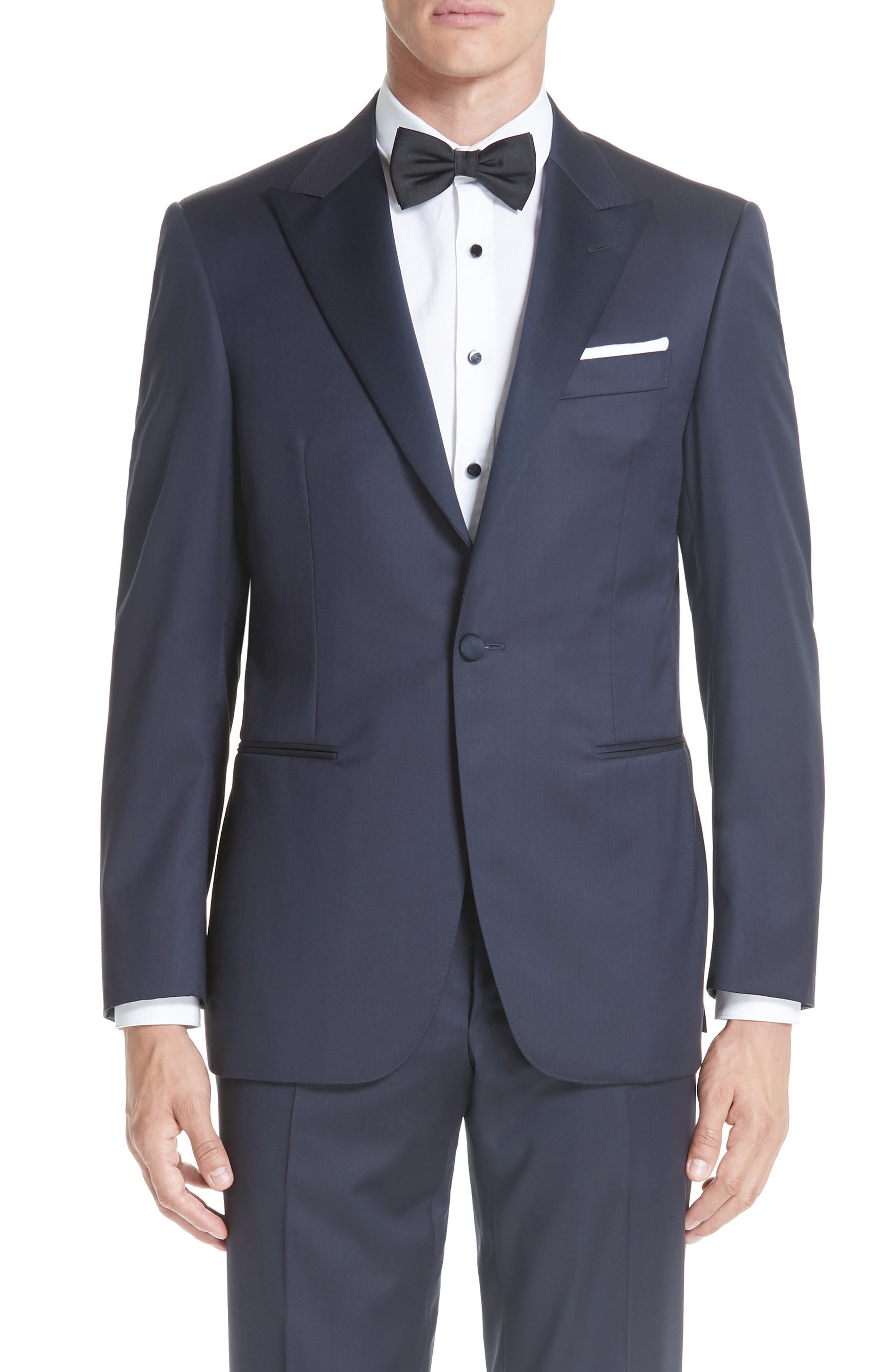 Classic Fit Wool Tuxedo,                             Alternate thumbnail 5, color,                             NAVY