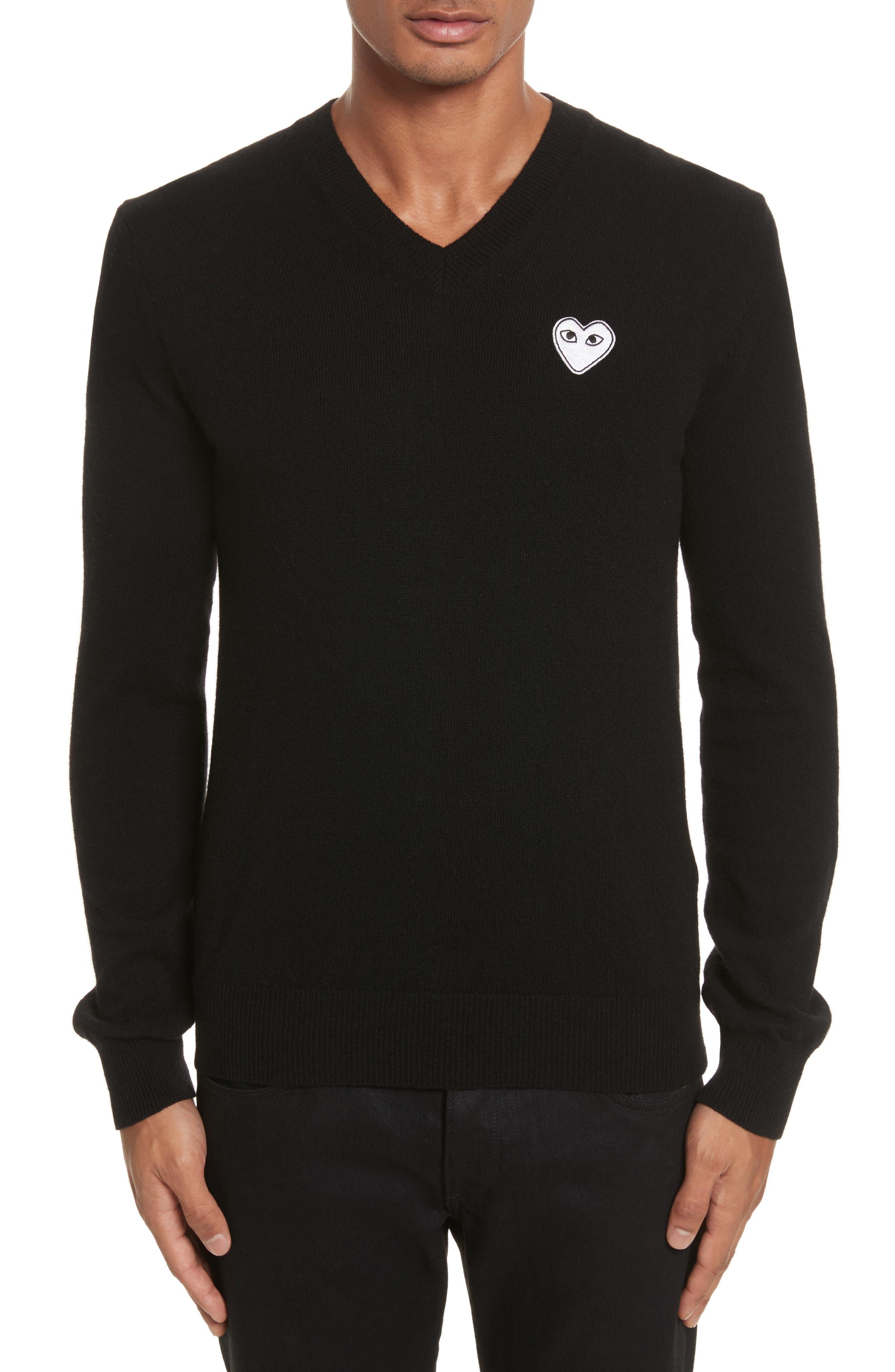 White Heart Wool V-Neck Sweater,                         Main,                         color, BLACK