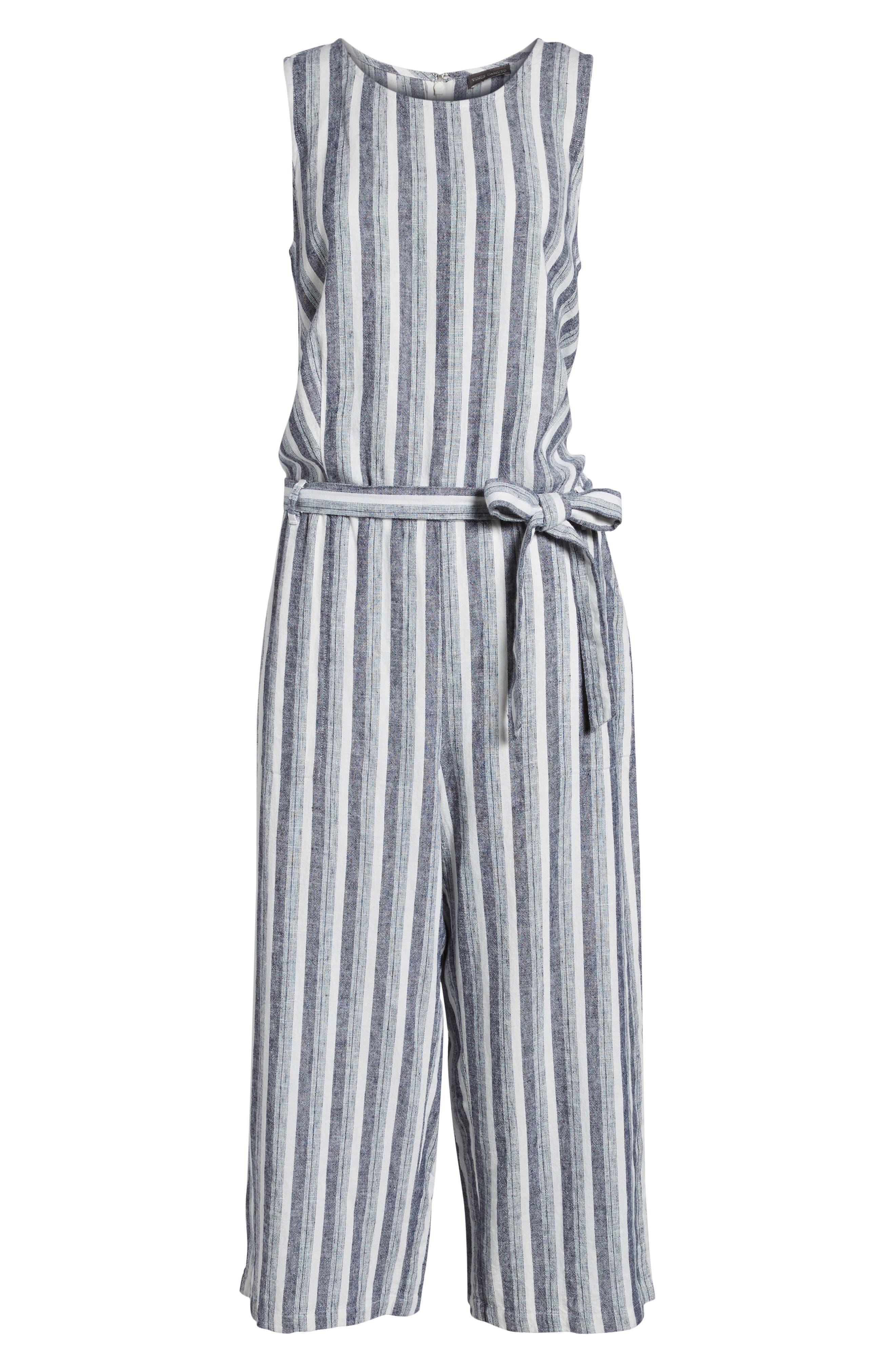 Shore Stripe Linen Blend Jumpsuit,                             Alternate thumbnail 6, color,                             145