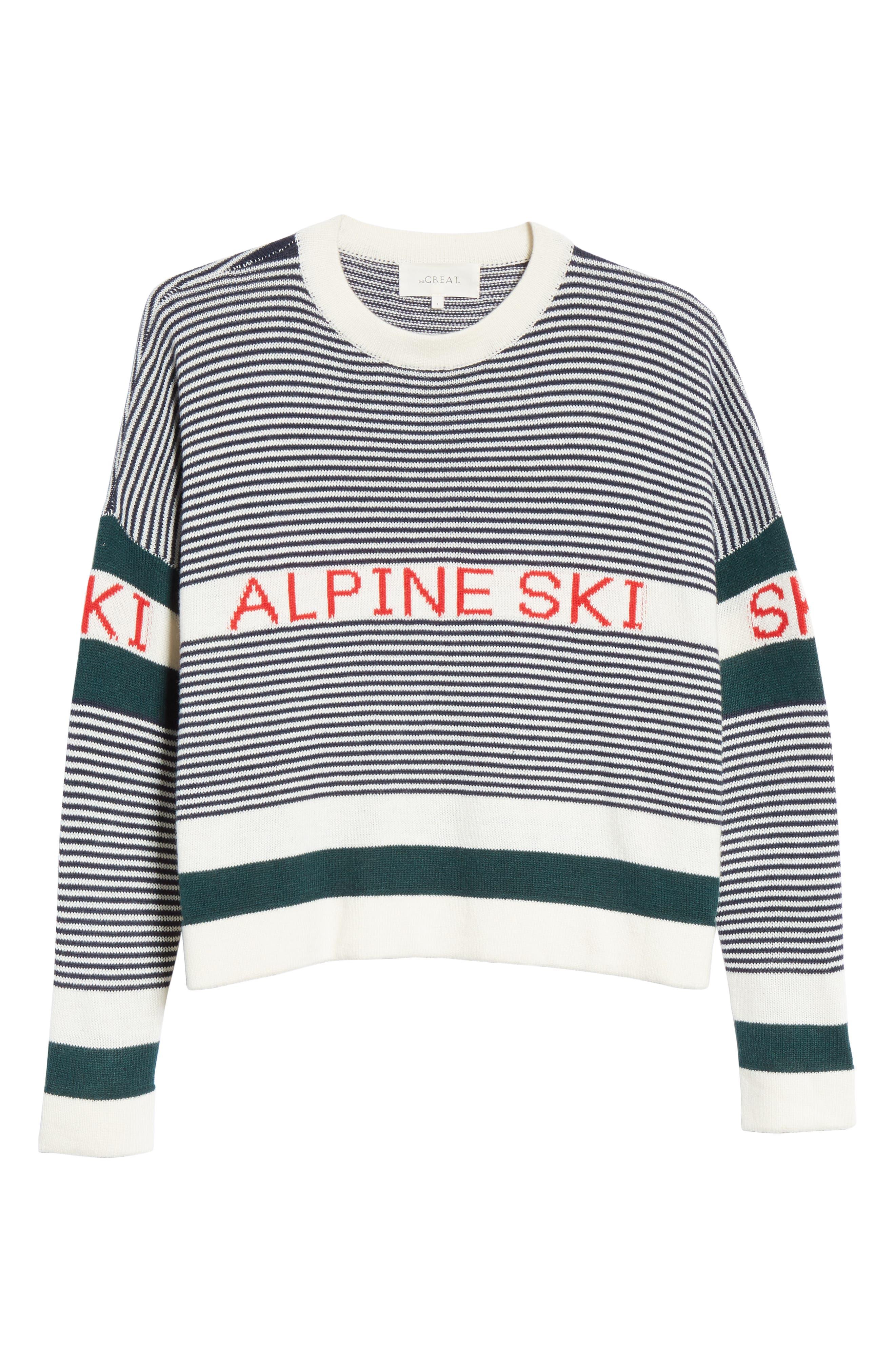Alpine Ski Sweater,                             Alternate thumbnail 6, color,                             MULTI STRIPE