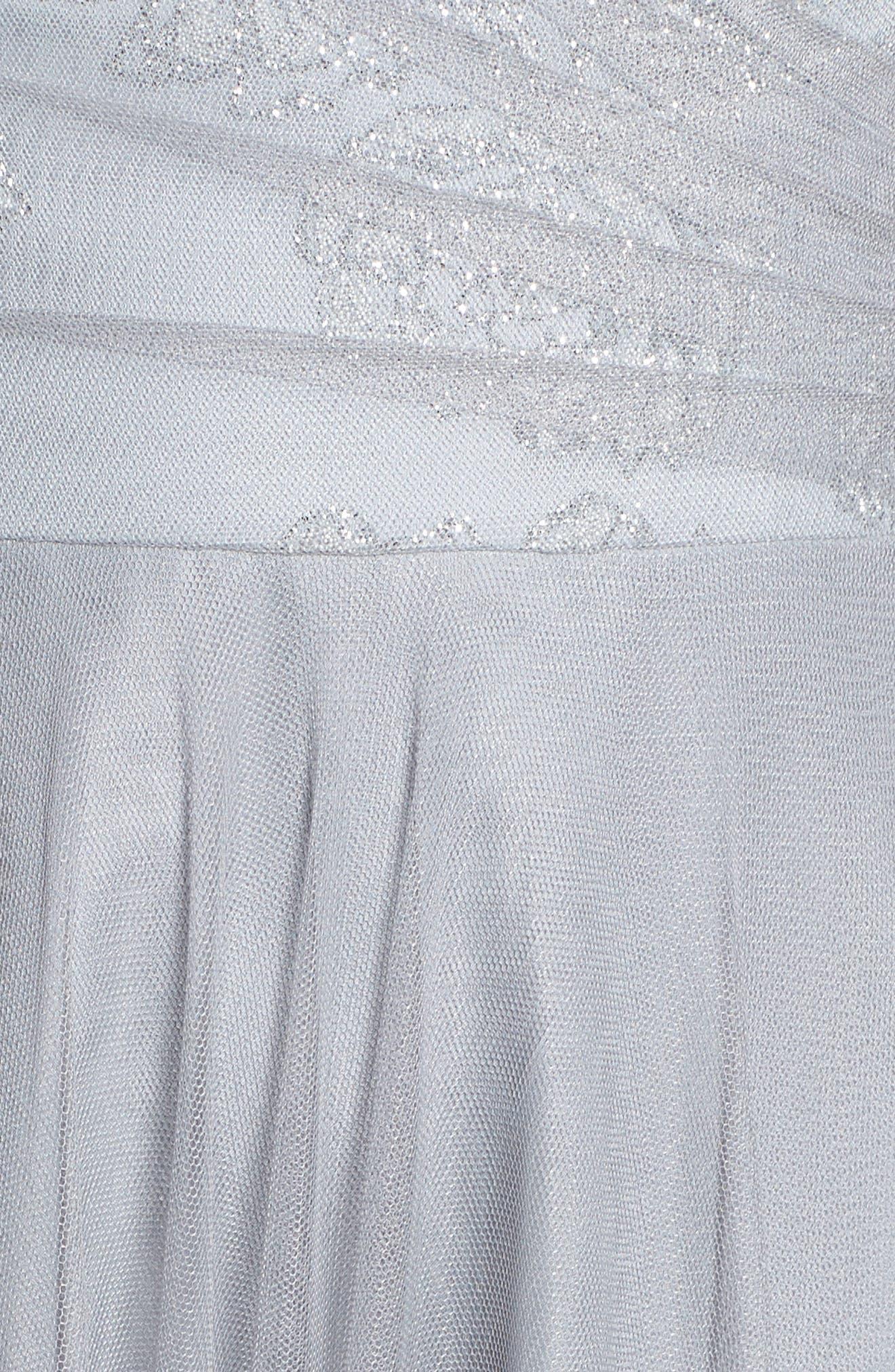Embellished Bodice Net Halter Gown,                             Alternate thumbnail 6, color,                             PEWTER