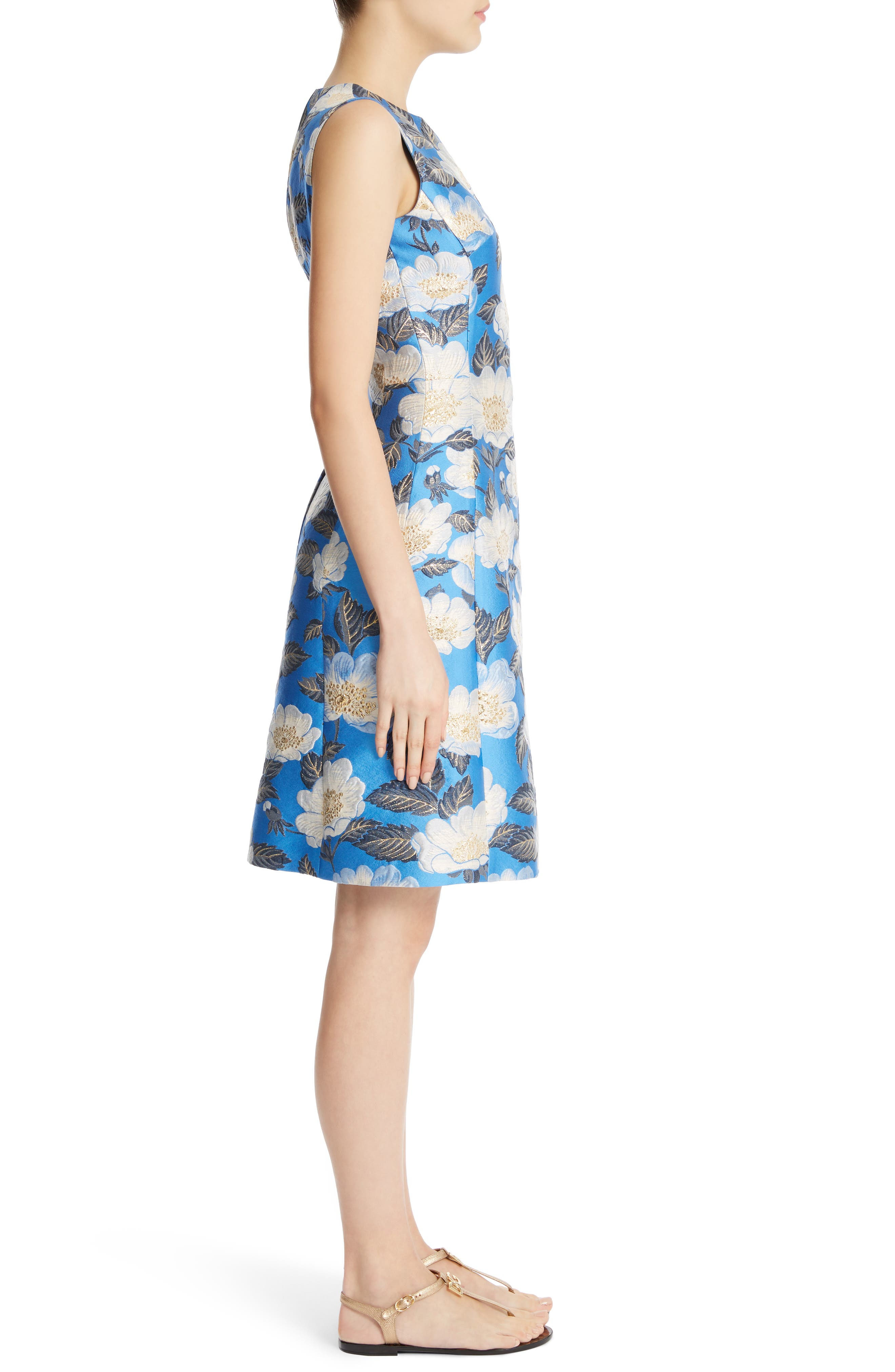 Floral Brocade Dress,                             Alternate thumbnail 3, color,                             420