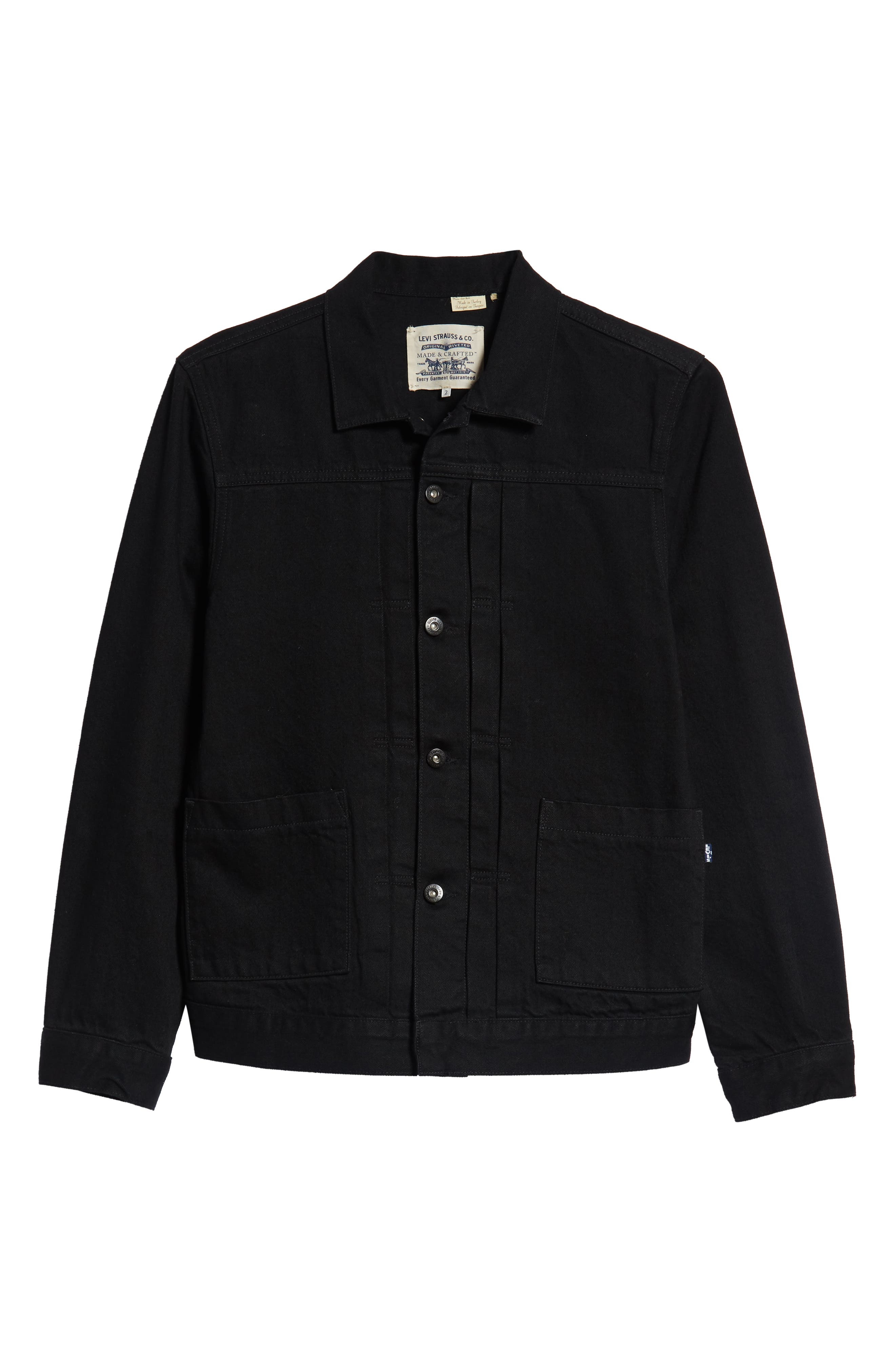 Type II<sup>™</sup> Worn Trucker Regular Fit Denim Jacket,                             Alternate thumbnail 6, color,                             NERO NERO