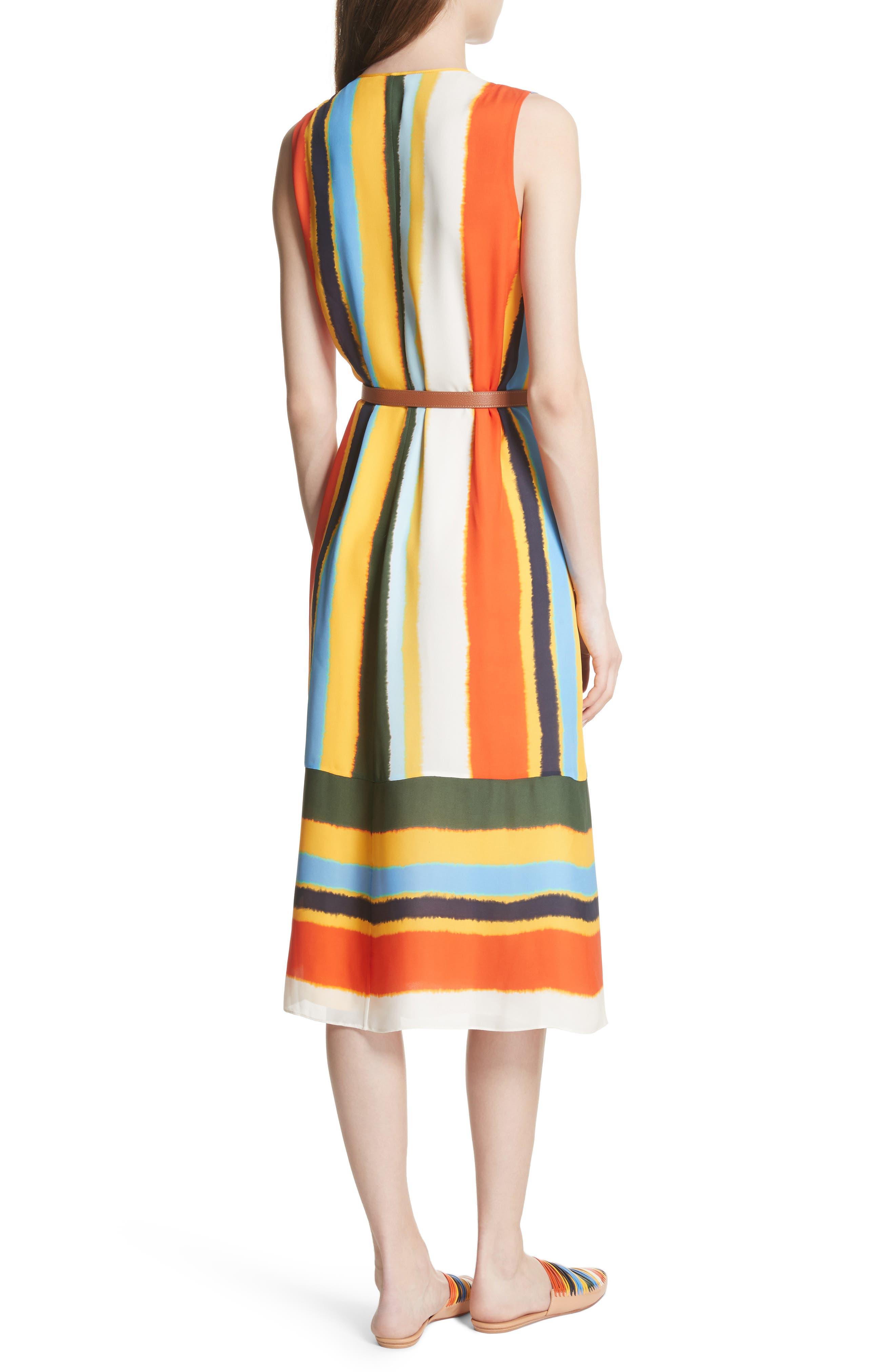 Bettina Stripe Silk Wrap Dress,                             Alternate thumbnail 2, color,                             108