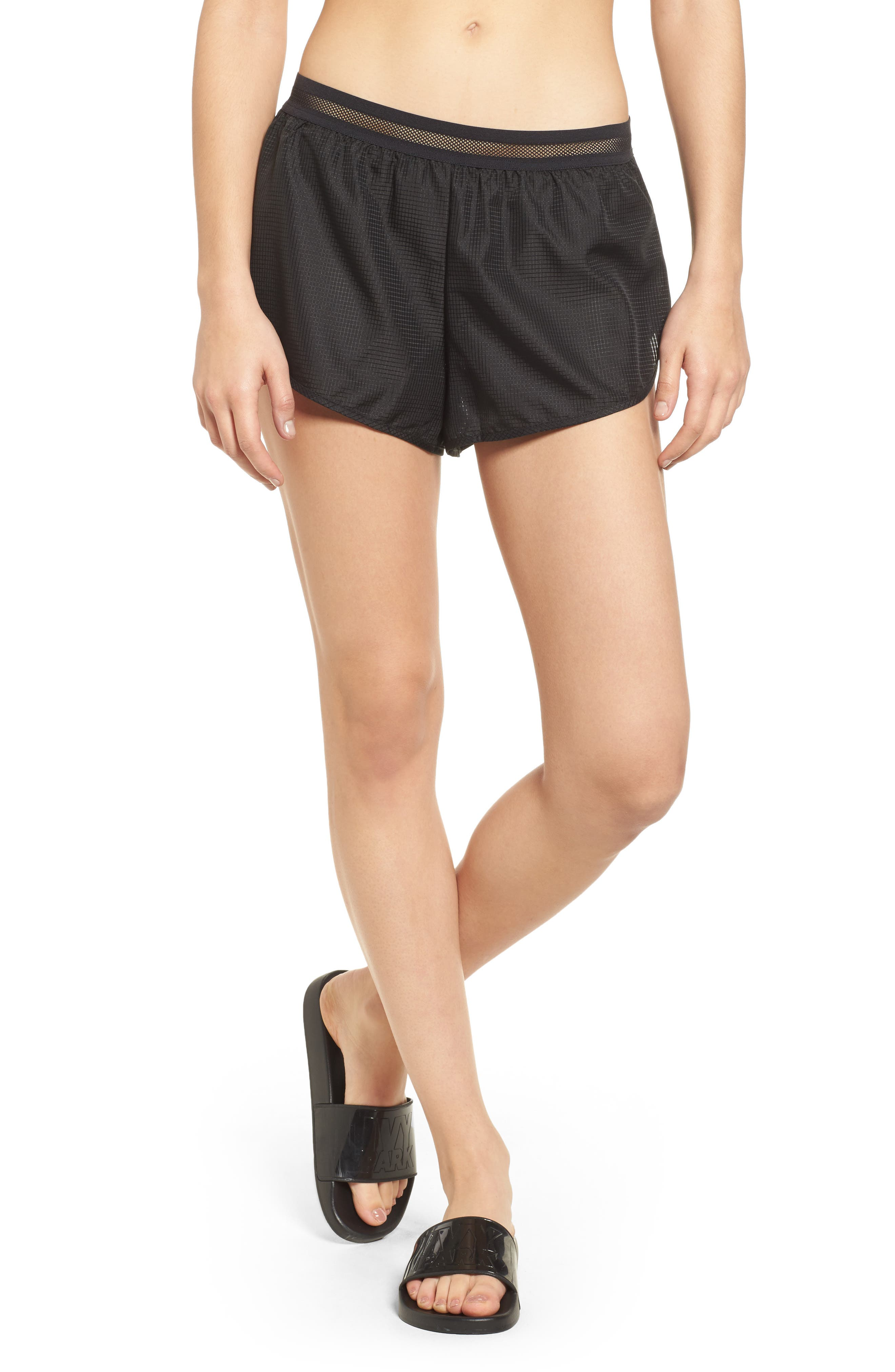 Logo Perforated Runner Shorts,                         Main,                         color, 001