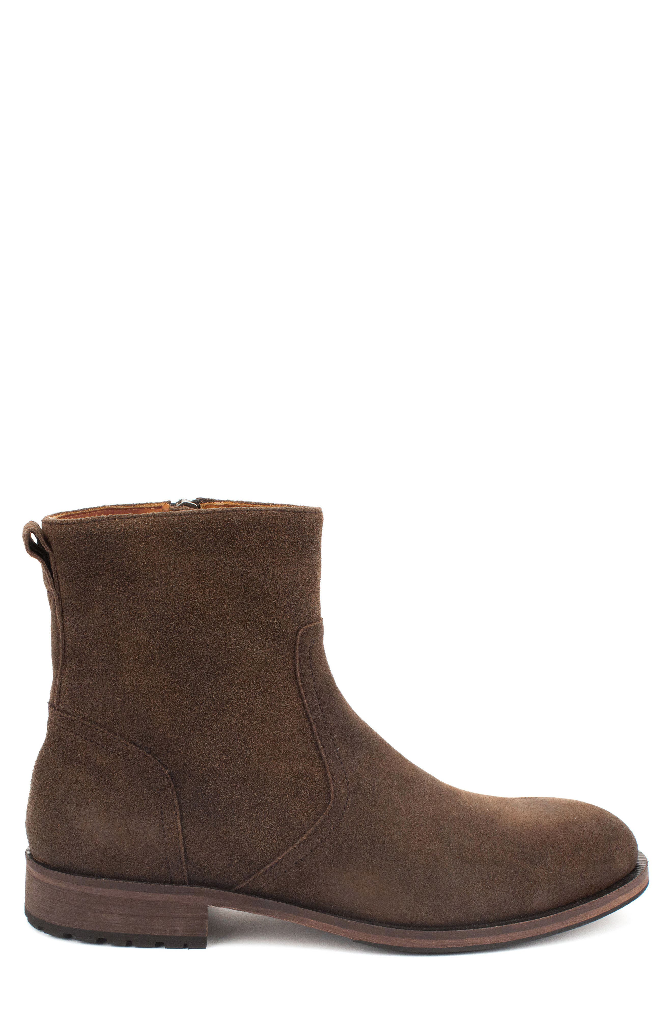 Fayette Plain Toe Zip Boot,                             Alternate thumbnail 3, color,                             CHOCOLATE SUEDE