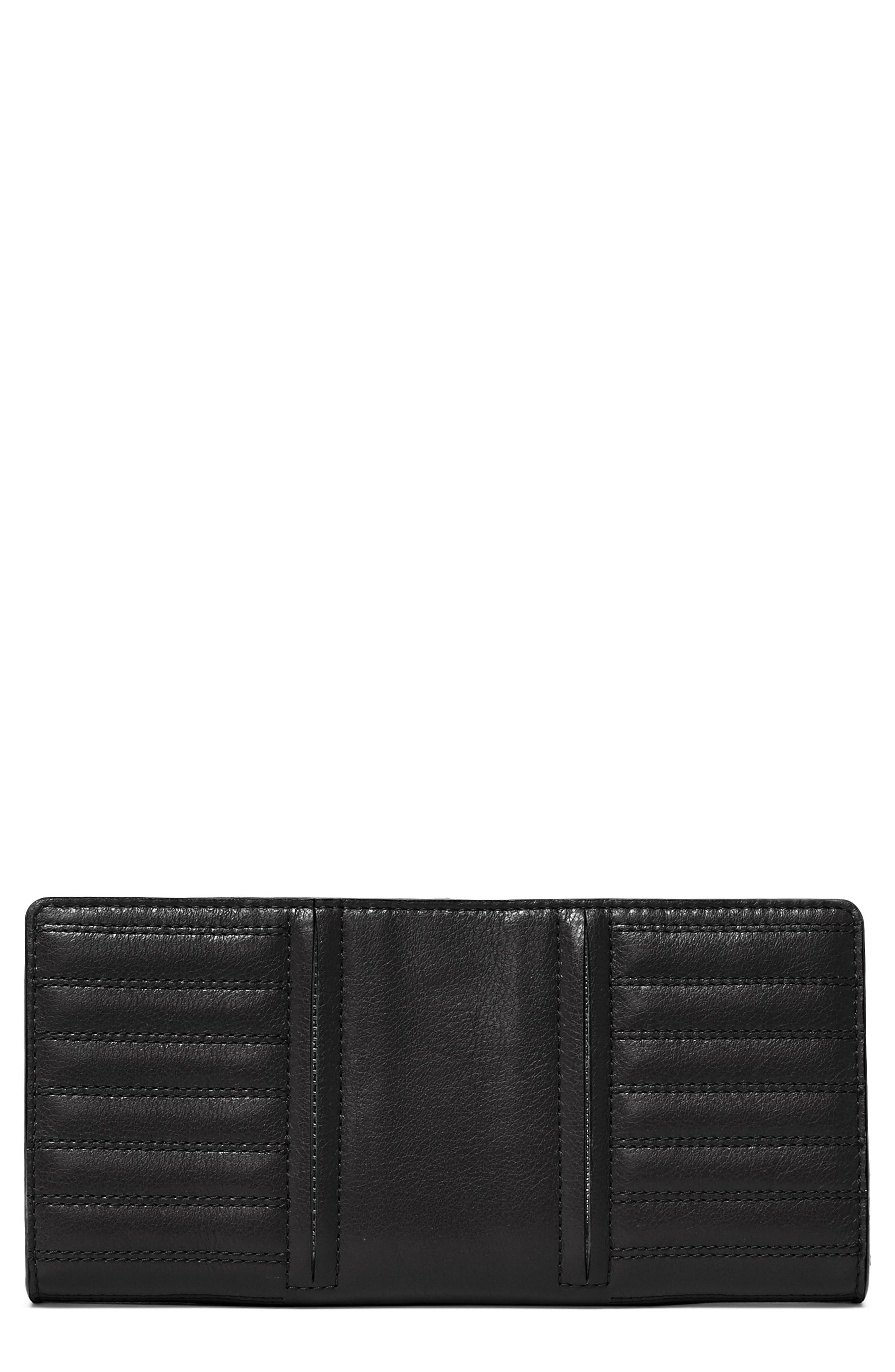 Moto Leather Continental Wallet,                         Main,                         color, BLACK