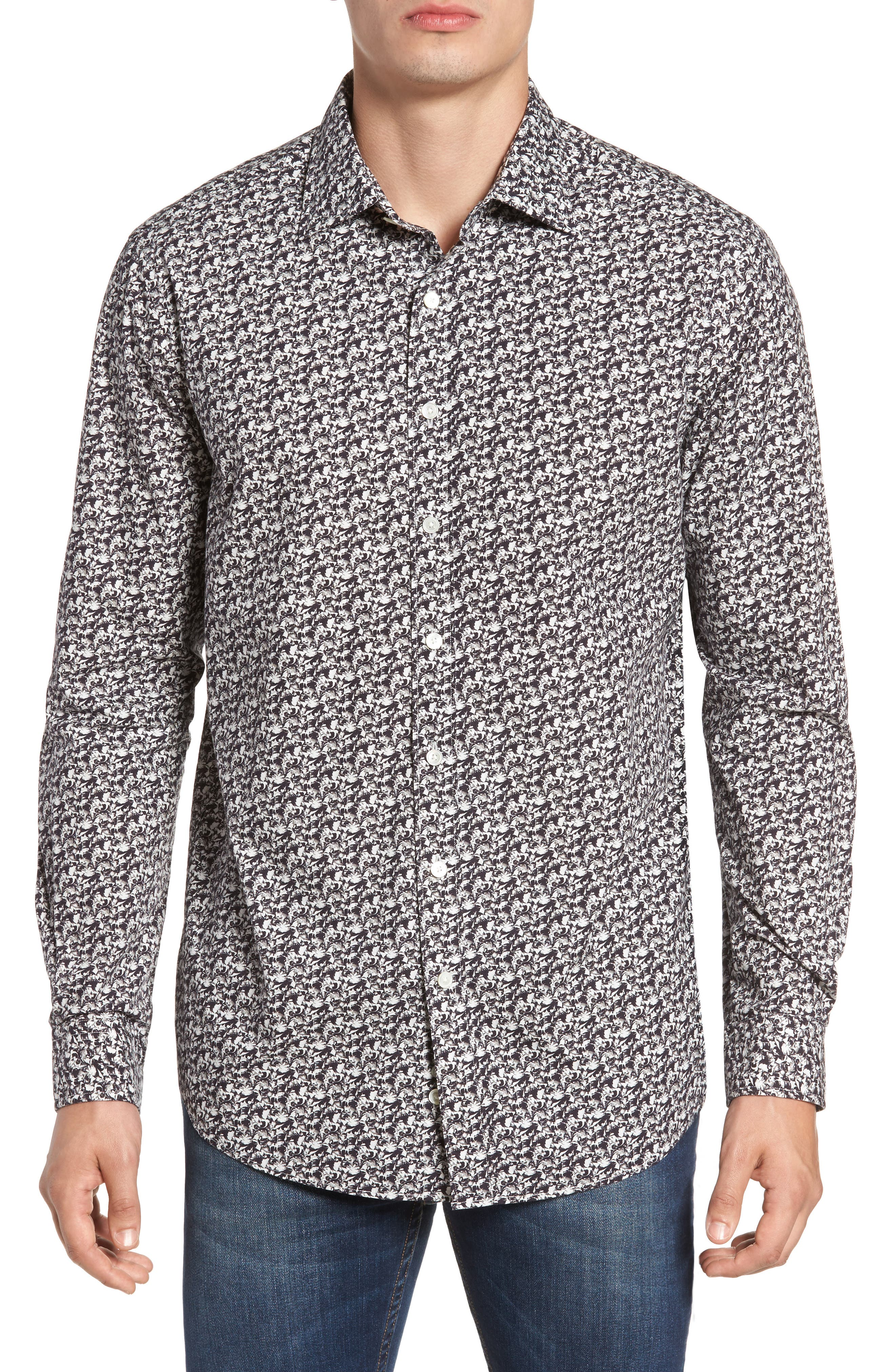 Bucklands Beach Print Sport Shirt,                         Main,                         color,