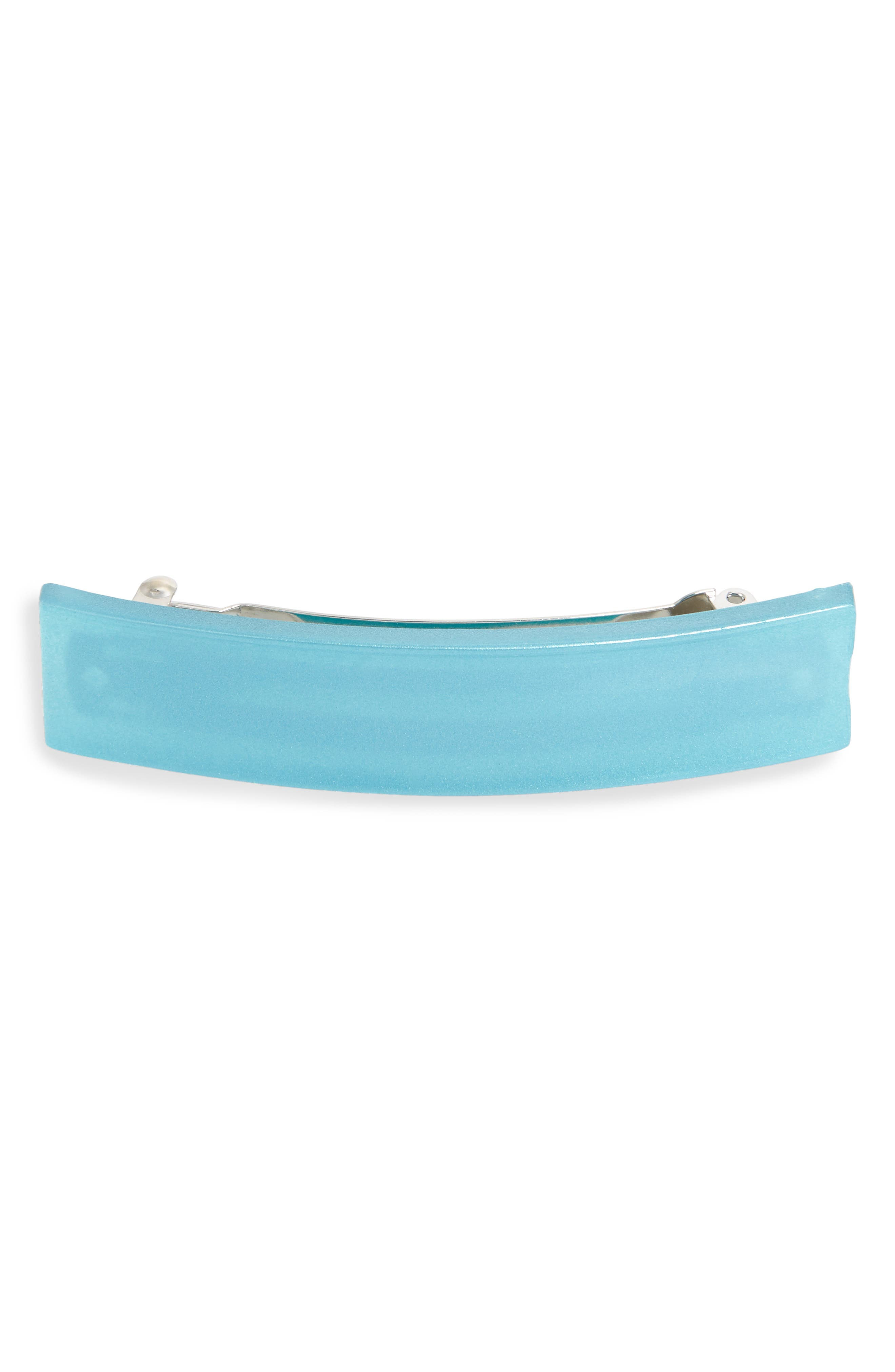 FRANCE LUXE Grooved Rectangle Barrette in Aqua