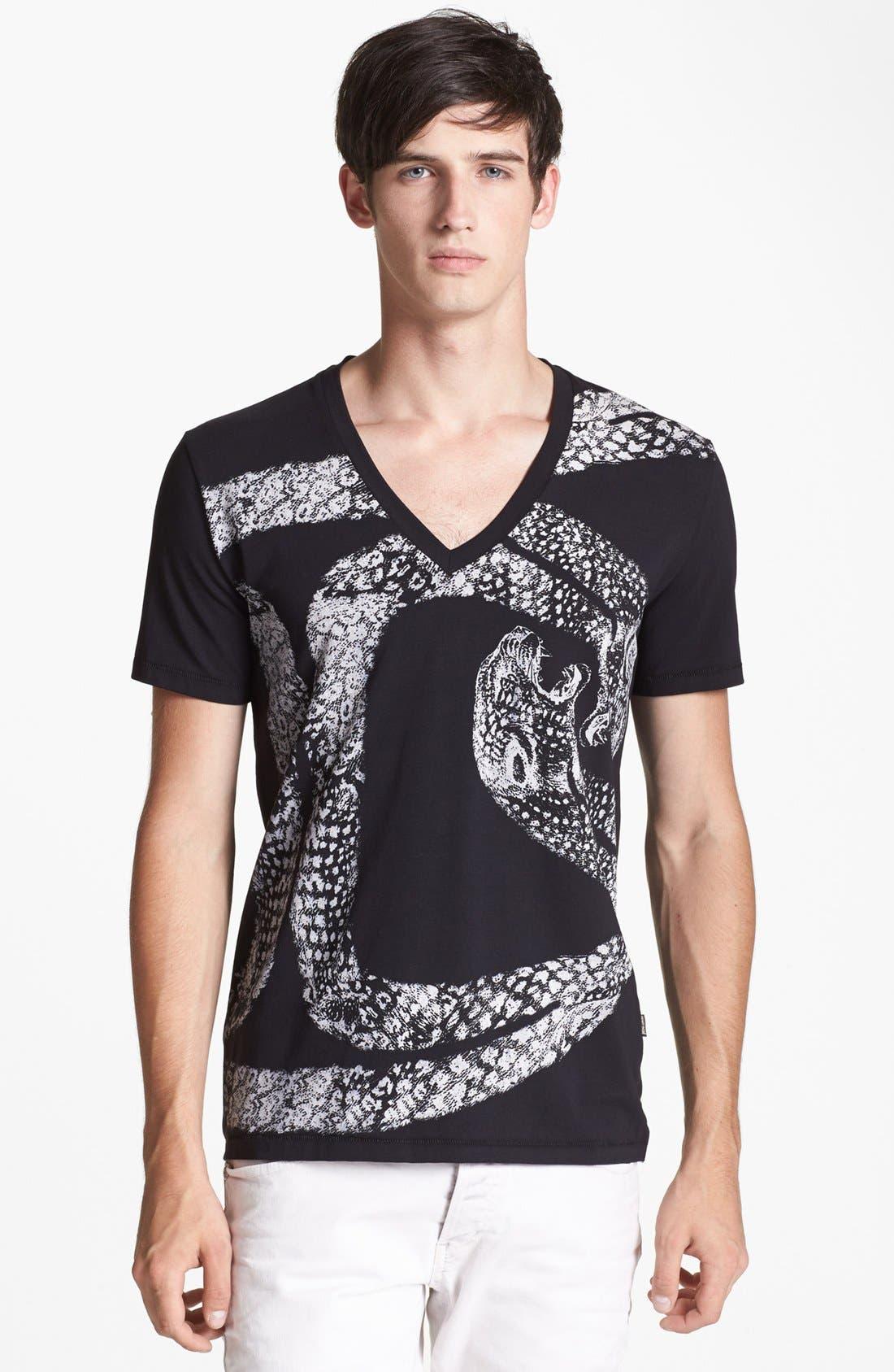 'Python' V-Neck T-Shirt,                             Main thumbnail 1, color,                             001