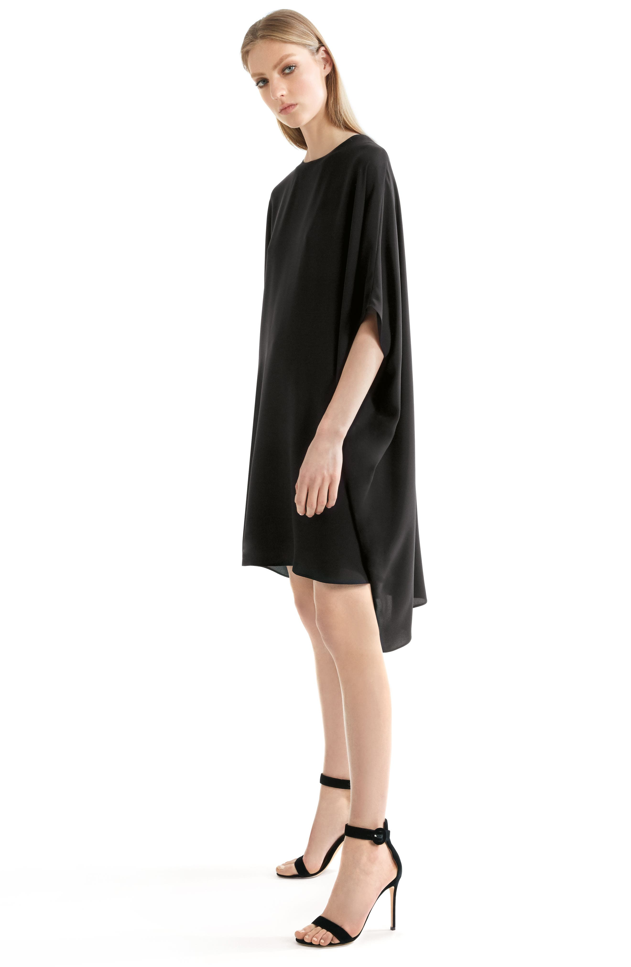 ST. JOHN COLLECTION,                             Double Silk Georgette Draped Dress,                             Alternate thumbnail 9, color,                             CAVIAR