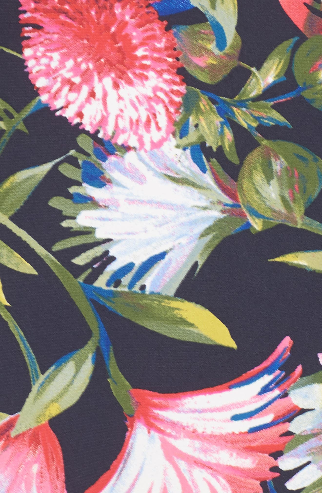 Floral Seamless High Waist Bikini Bottoms,                             Alternate thumbnail 5, color,                             NAVY