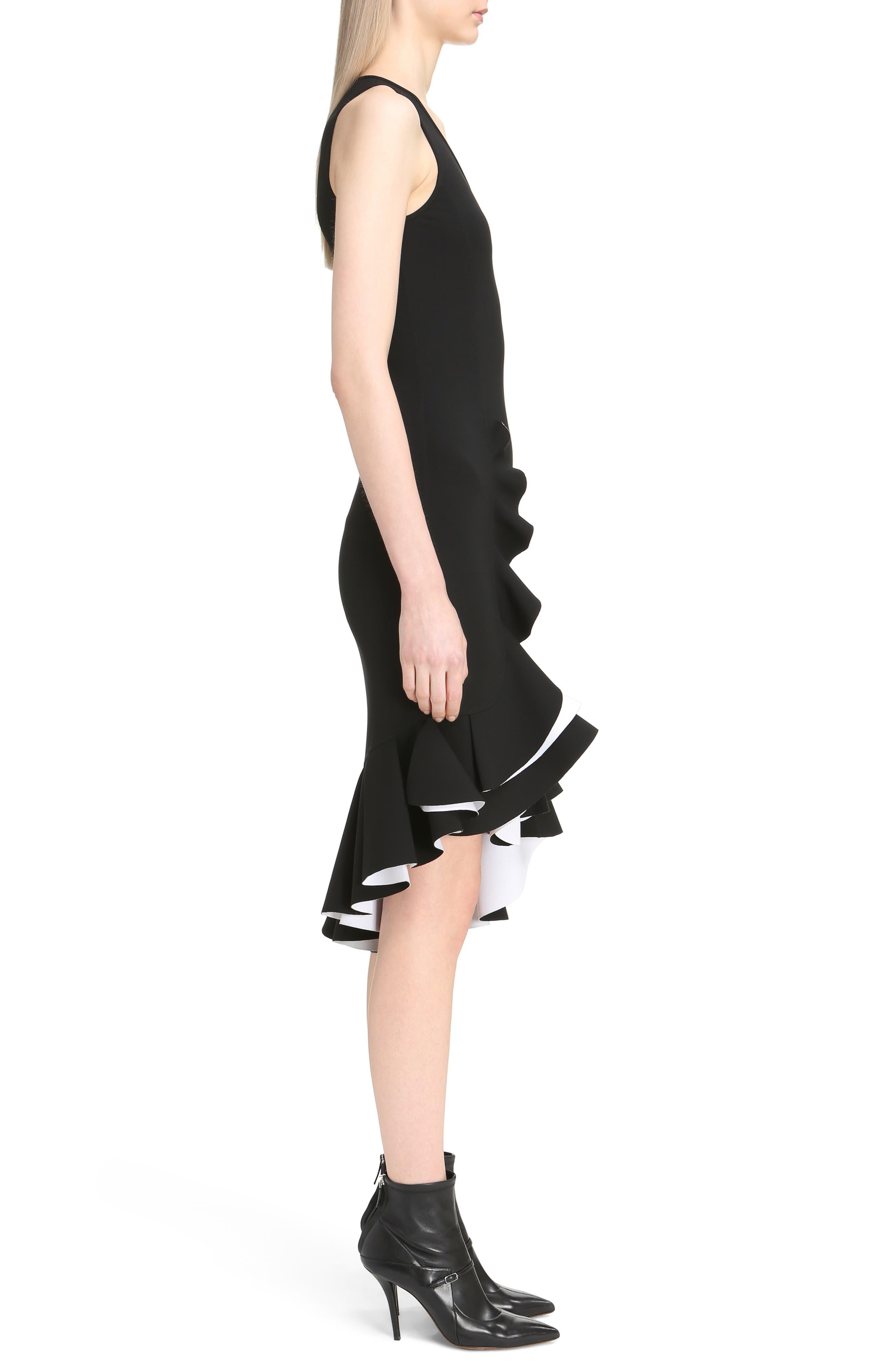 Bicolor Ruffle Crepe Dress,                             Alternate thumbnail 3, color,