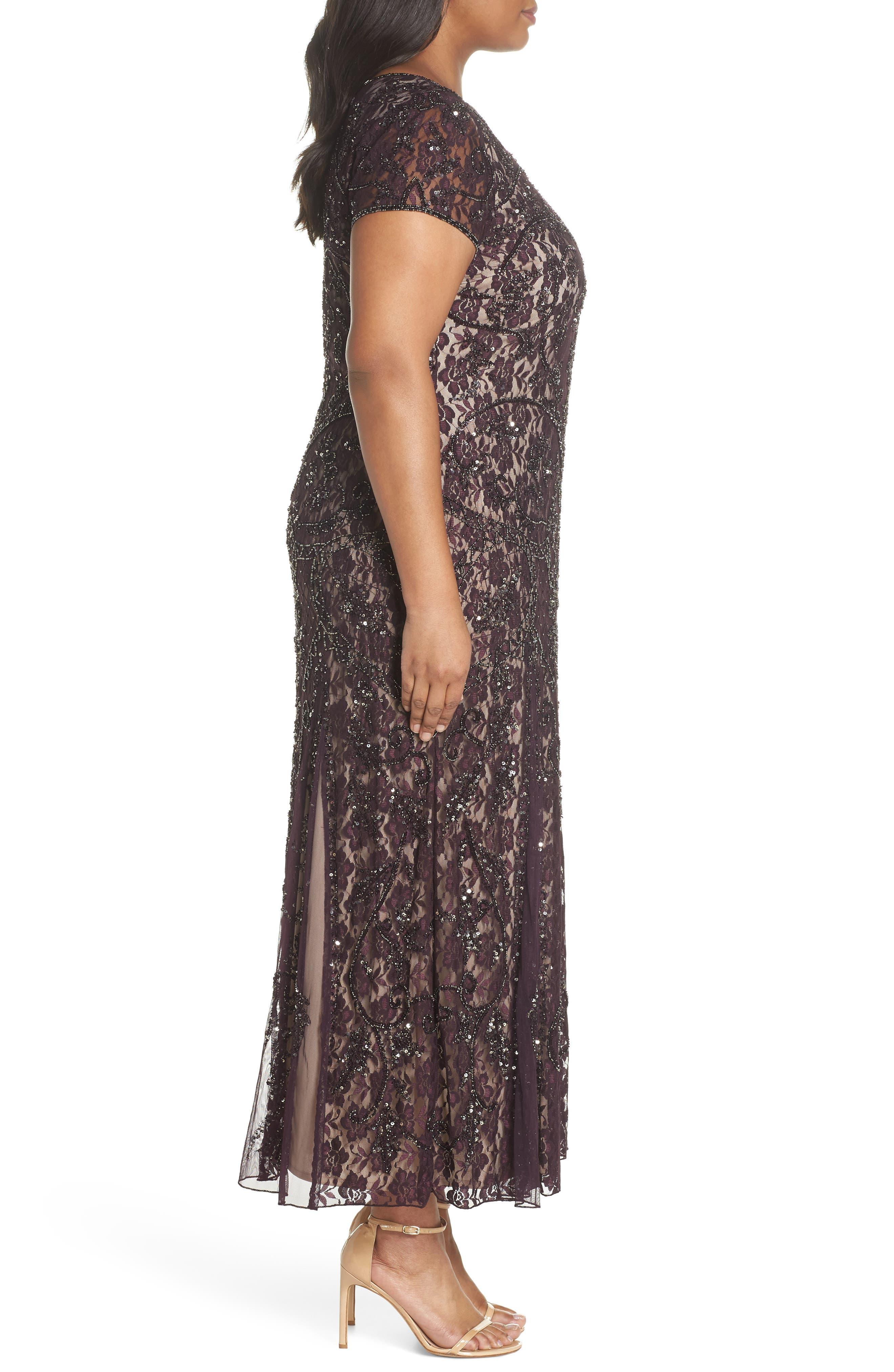 Embellished Lace A-Line Dress,                             Alternate thumbnail 3, color,                             502