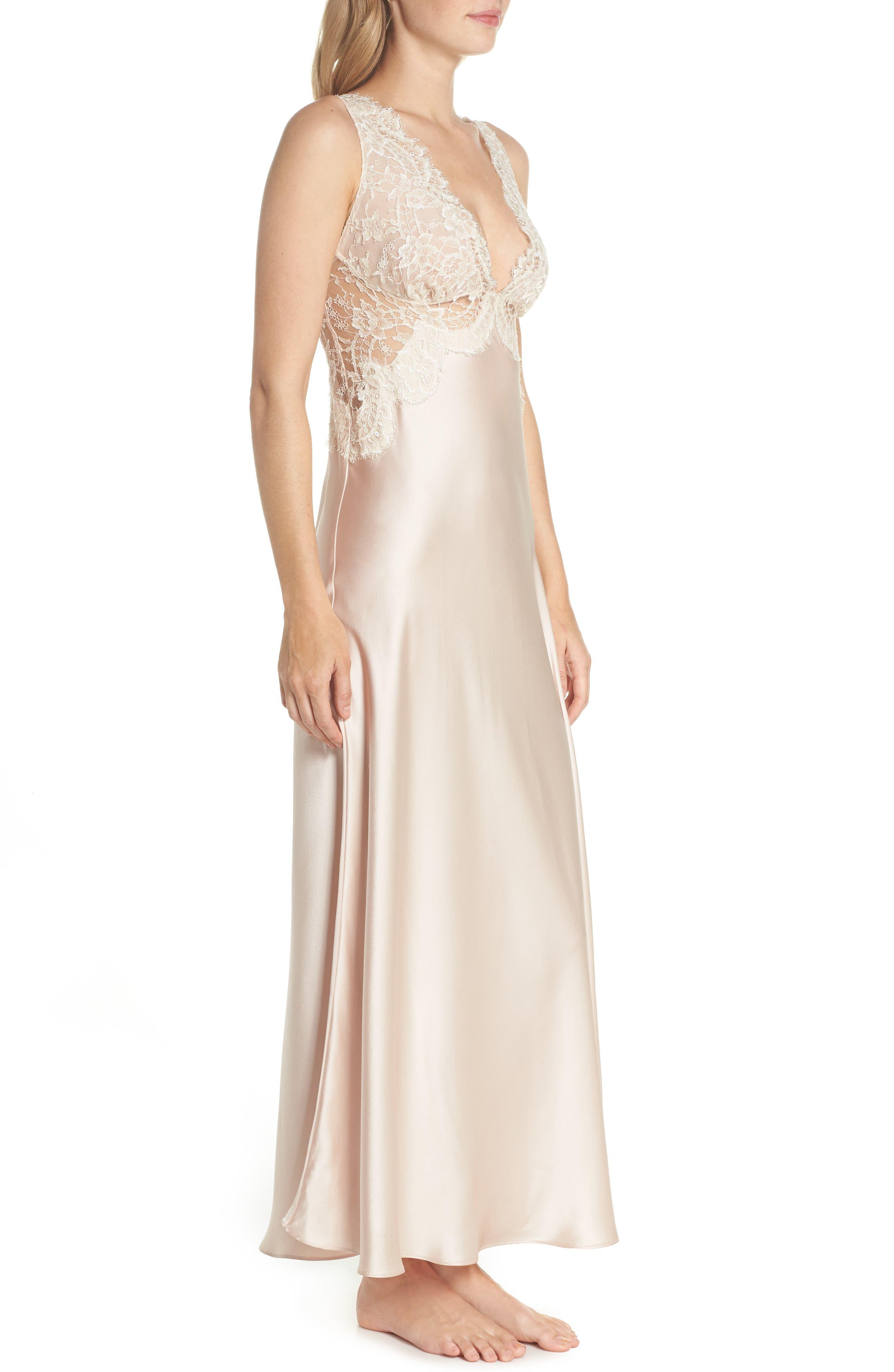Lace Trim Silk Nightgown,                             Alternate thumbnail 3, color,                             650