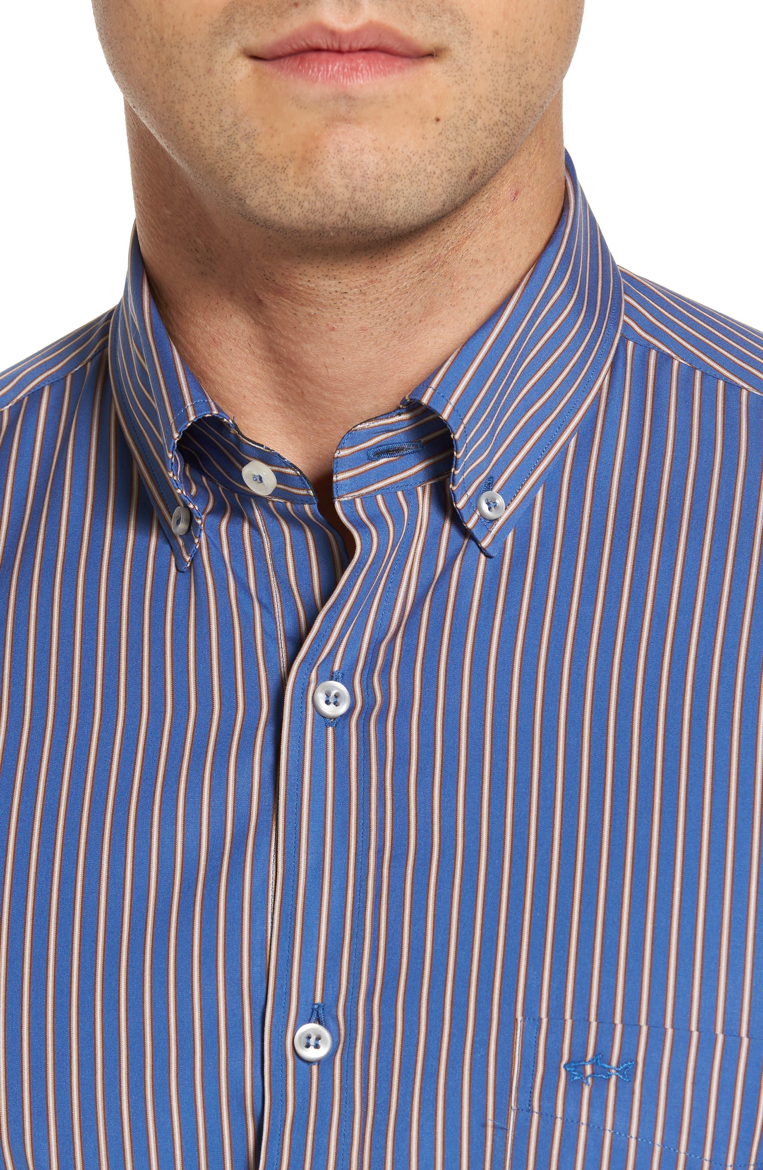 Paul&Shark Striped Sport Shirt,                             Alternate thumbnail 4, color,                             400