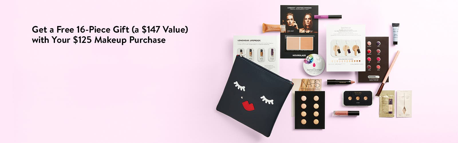 Get a free 16-piece gift with your $125 makeup purchase.