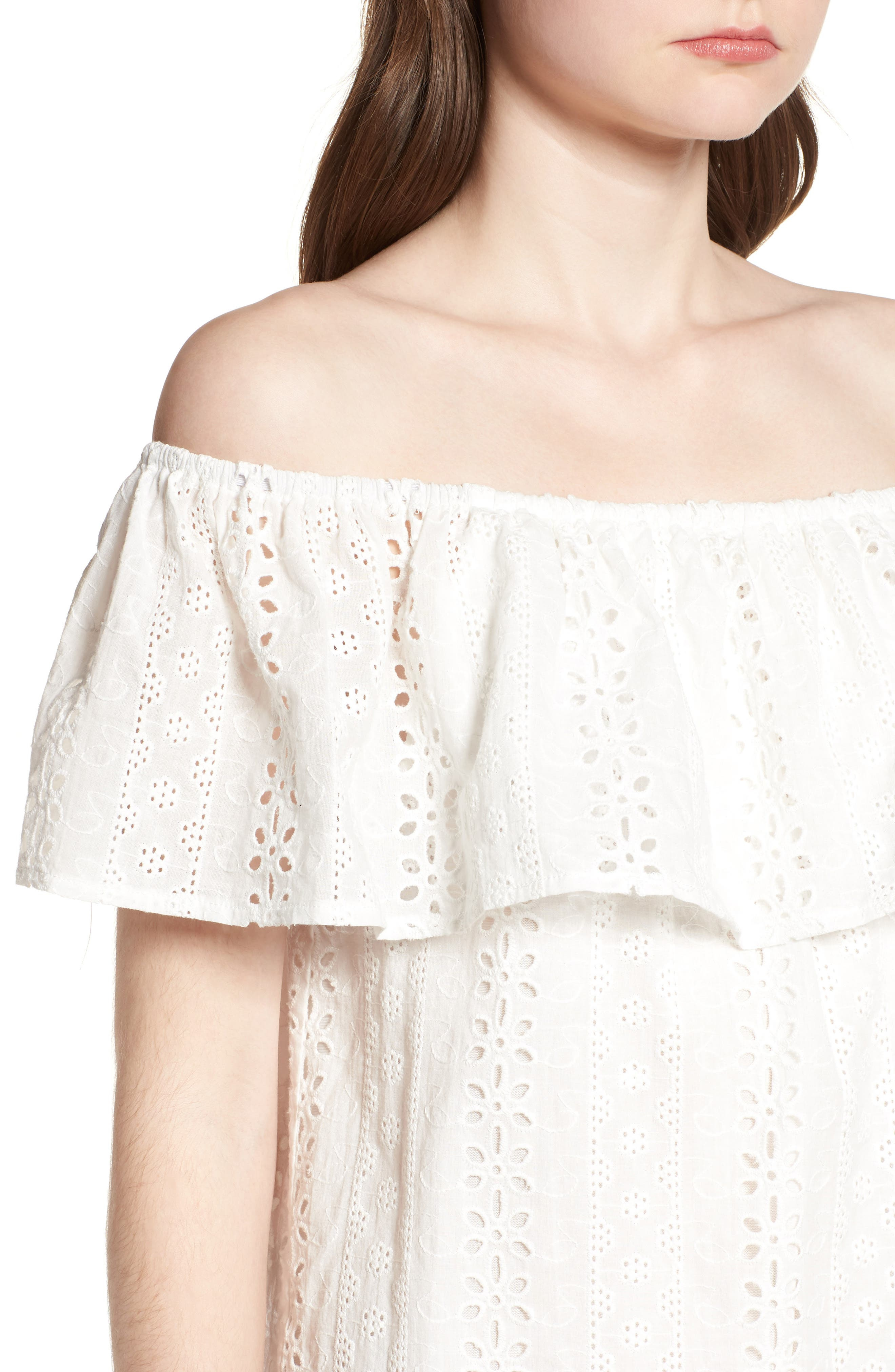 Bishop + Young Eyelet Ruffle Off the Shoulder Dress,                             Alternate thumbnail 4, color,                             100