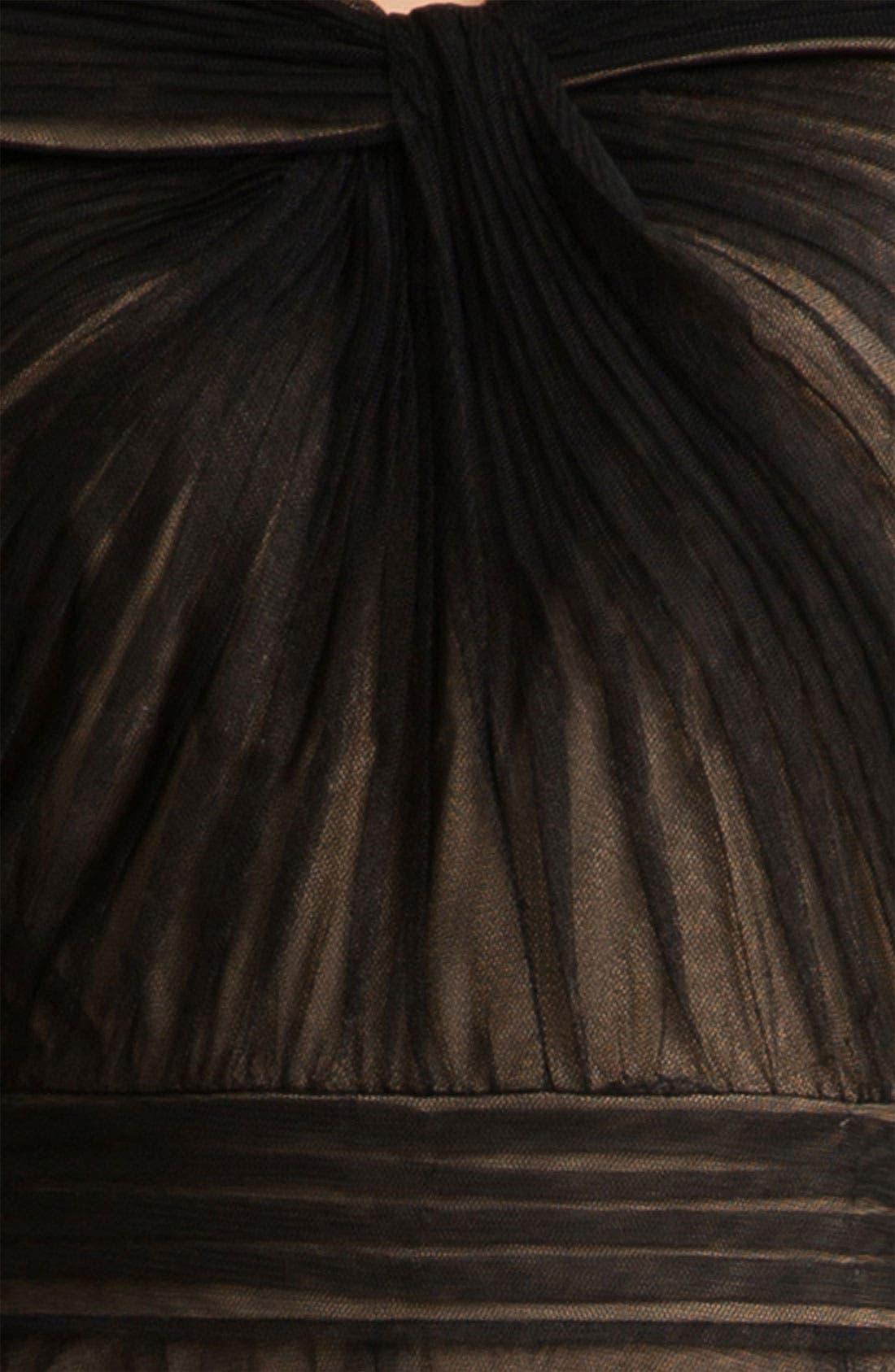 TADASHI SHOJI,                             Portrait Collar Pleated Mesh Gown,                             Alternate thumbnail 4, color,                             004