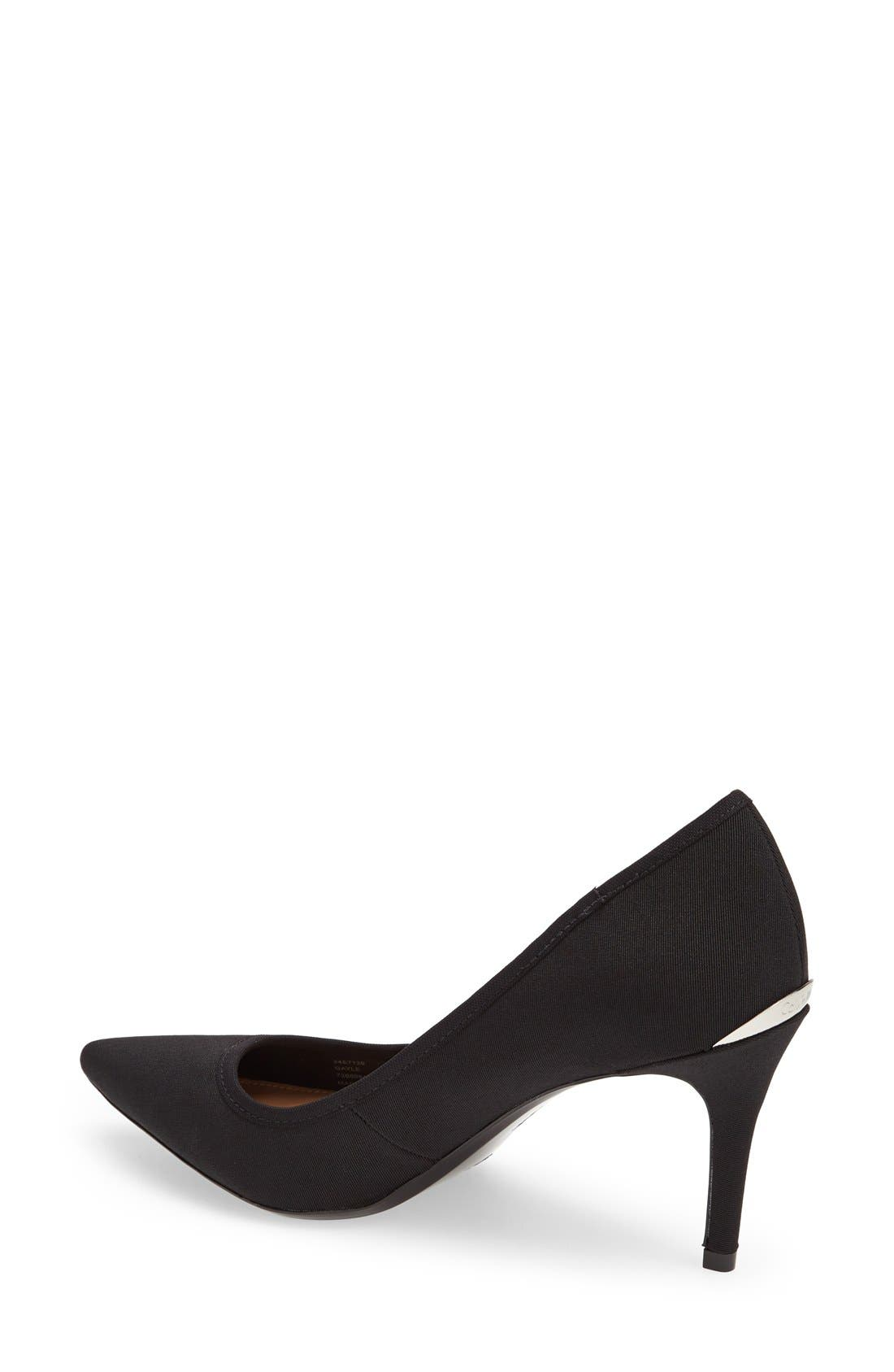'Gayle' Pointy Toe Pump,                             Alternate thumbnail 3, color,                             BLACK STRETCH
